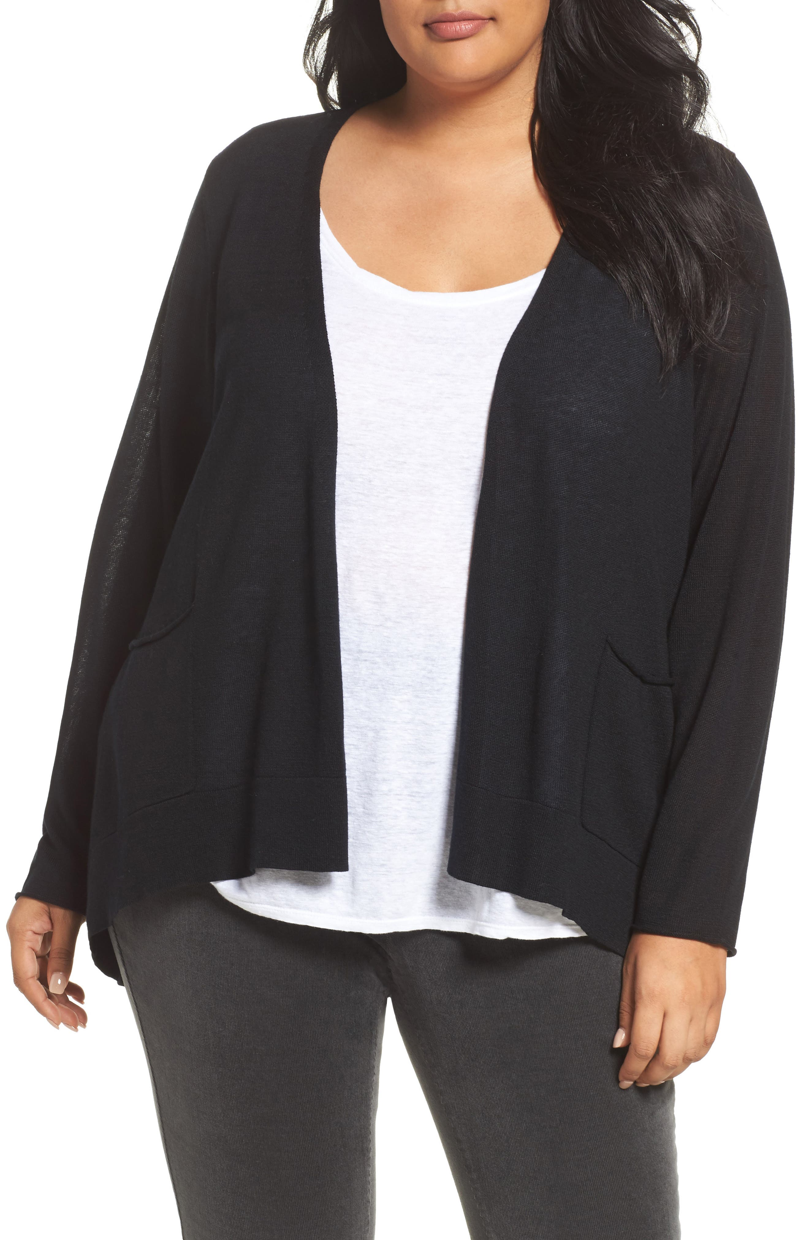 Slouchy Tencel<sup>®</sup> Blend Cardigan,                         Main,                         color, 001