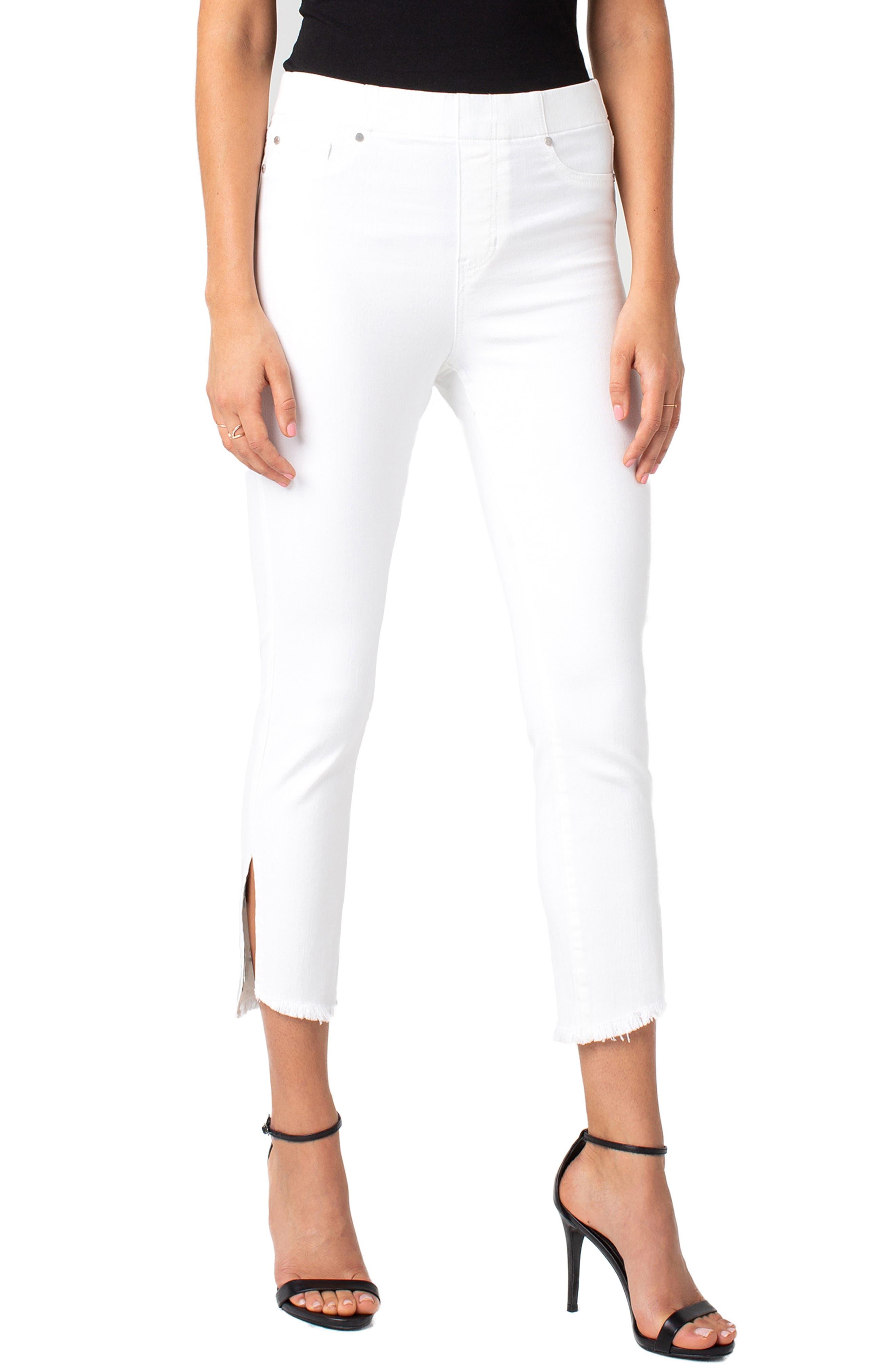 Chloe High Waist Slit Hem Pull-On Skinny Jeans, Main, color, BRIGHT WHITE