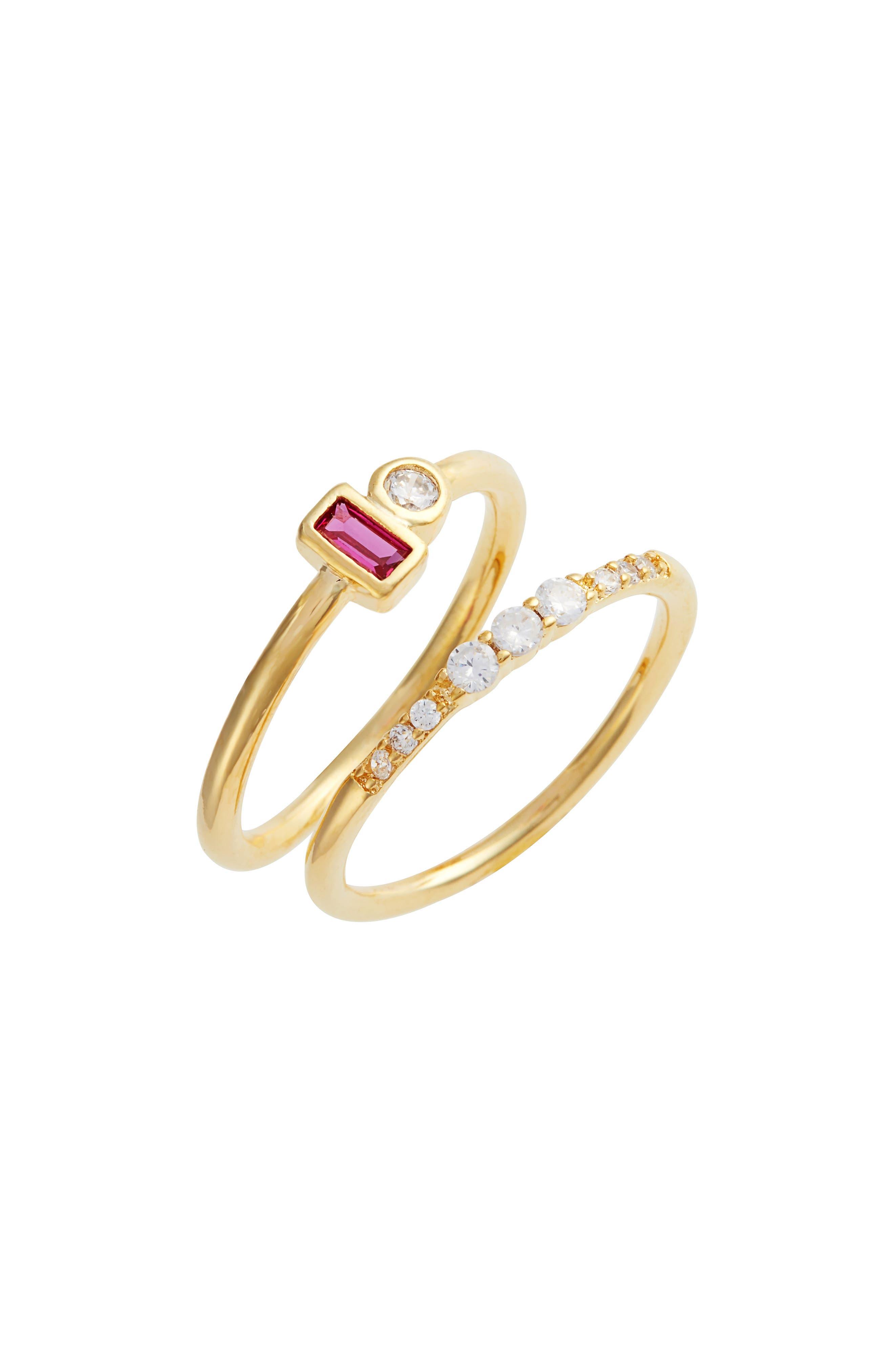 Tatiana Set of 2 Garnet & Crystal Rings,                         Main,                         color,