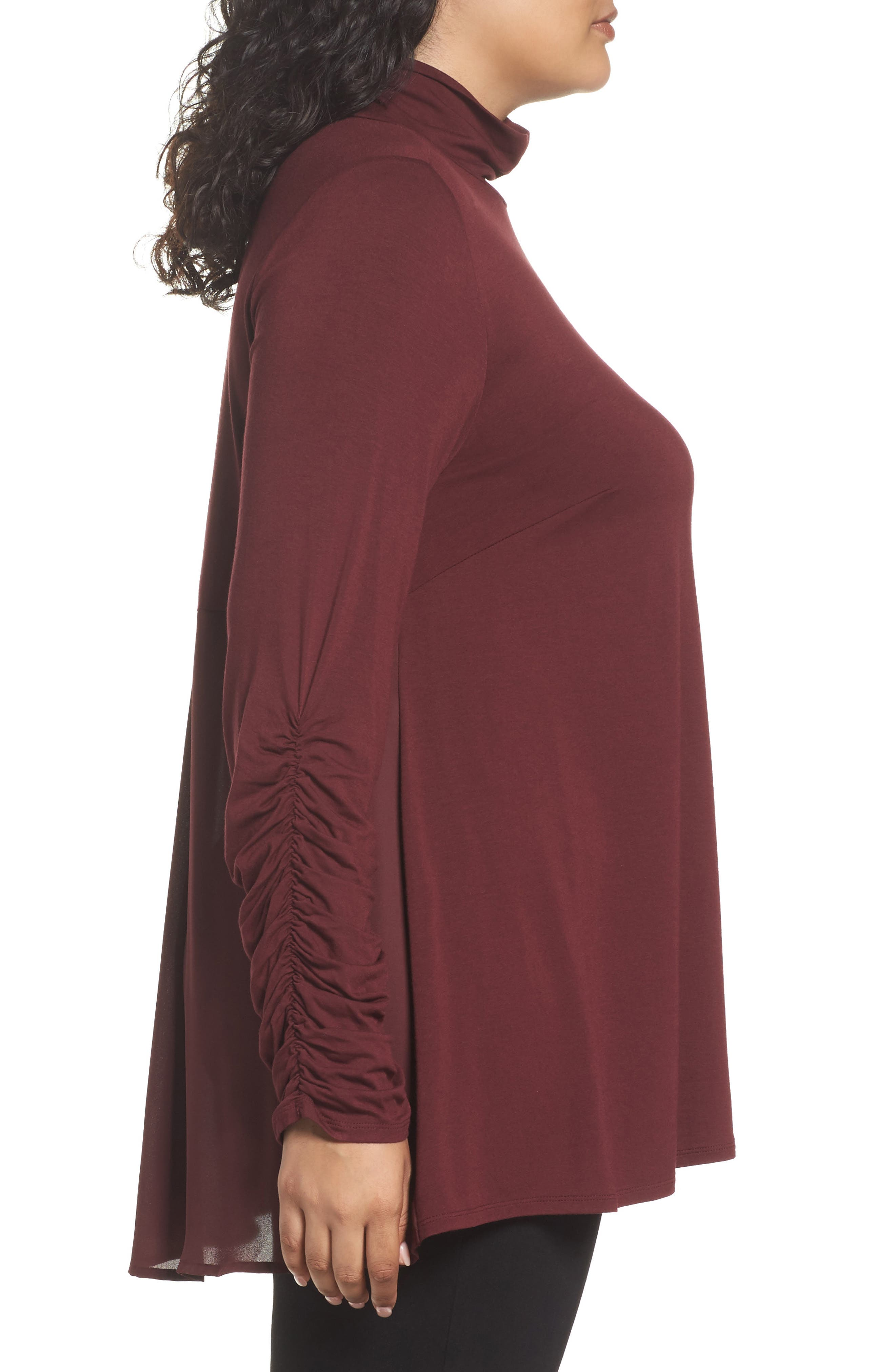 Ruched Sleeve Turtleneck Top,                             Alternate thumbnail 3, color,                             018