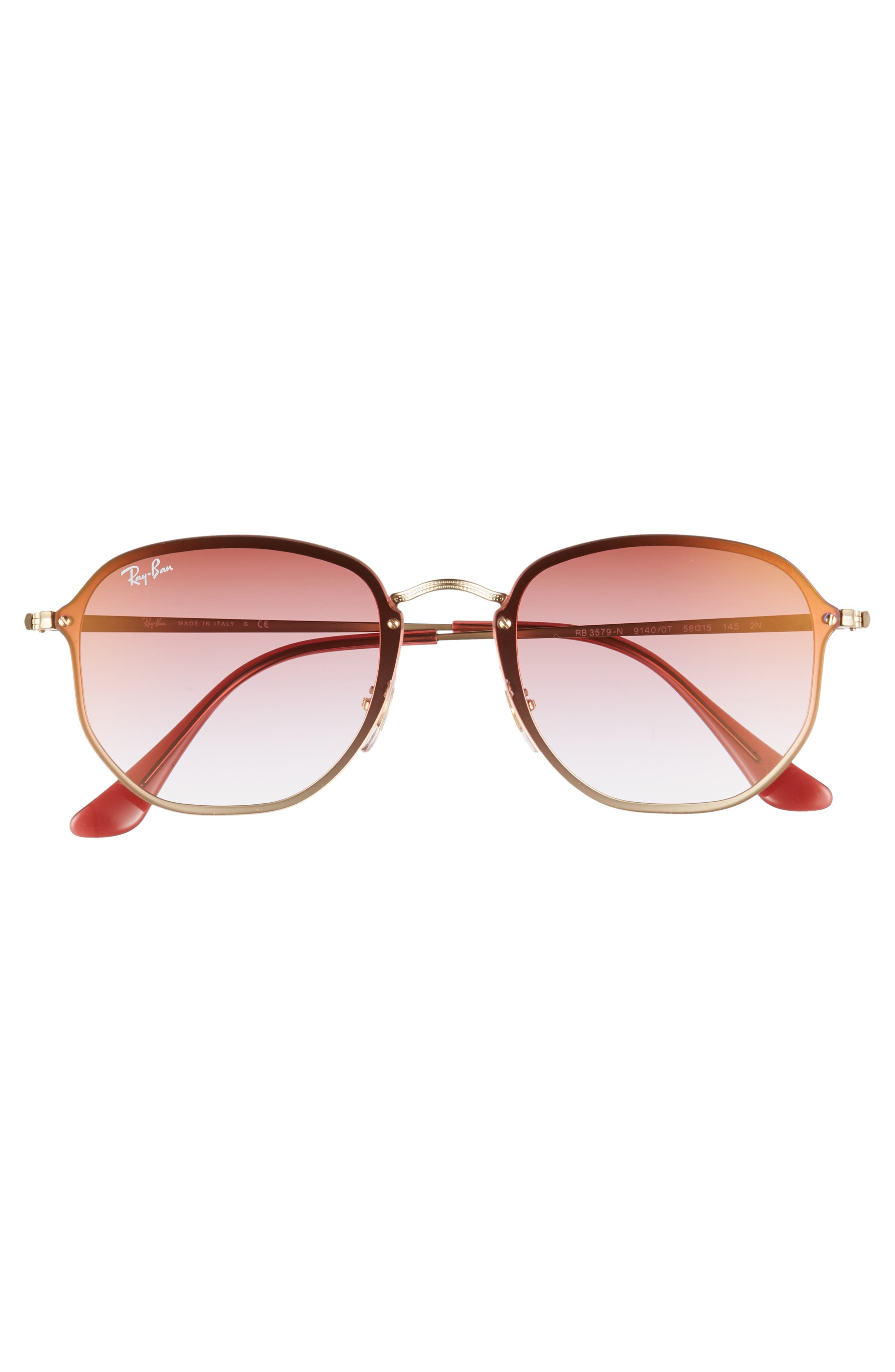 58mm Round Sunglasses,                             Alternate thumbnail 3, color,                             GOLD/ BROWN PINK GRADIENT