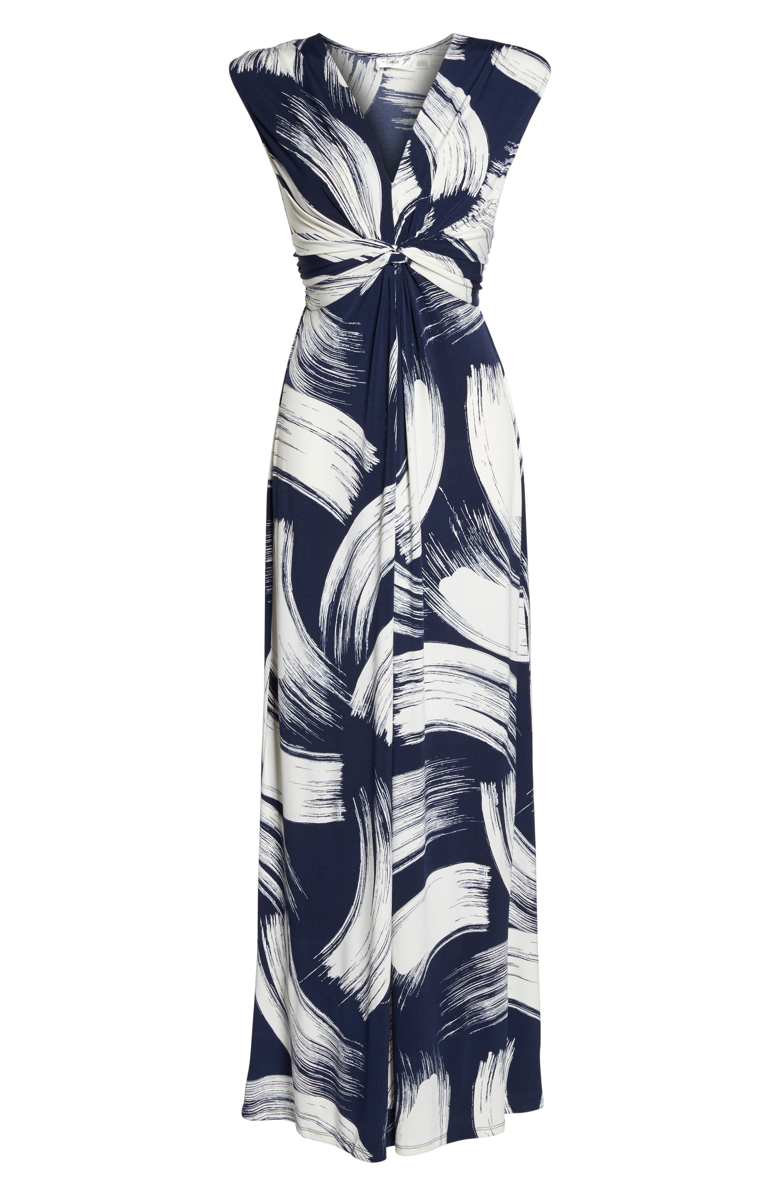 Brush Print Jersey Maxi Dress,                             Alternate thumbnail 7, color,                             407