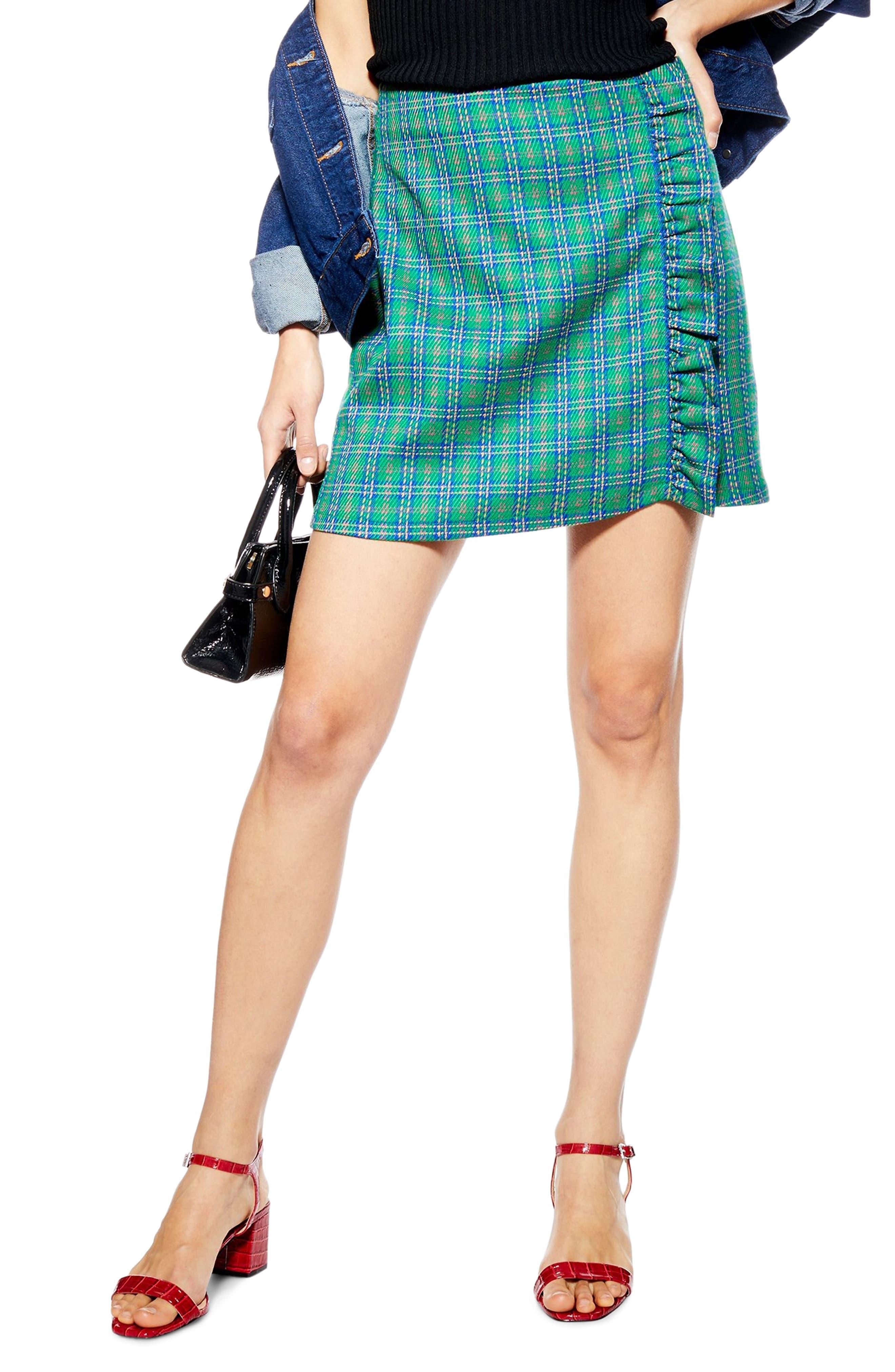Topshop Check Frill Miniskirt, US (fits like 0) - Green