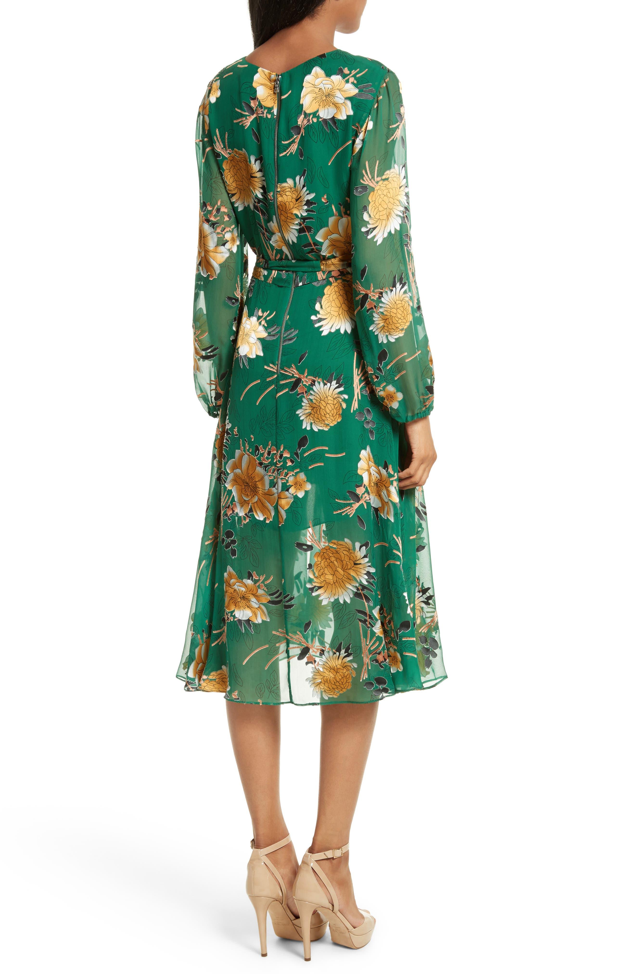 Coco Floral Print A-Line Dress,                             Alternate thumbnail 2, color,                             308