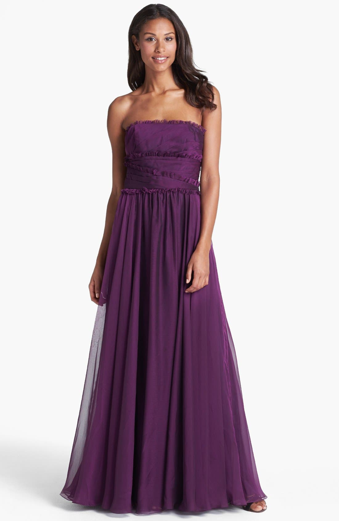 ML Monique Lhuillier Bridesmaids Strapless Chiffon Gown,                             Main thumbnail 11, color,