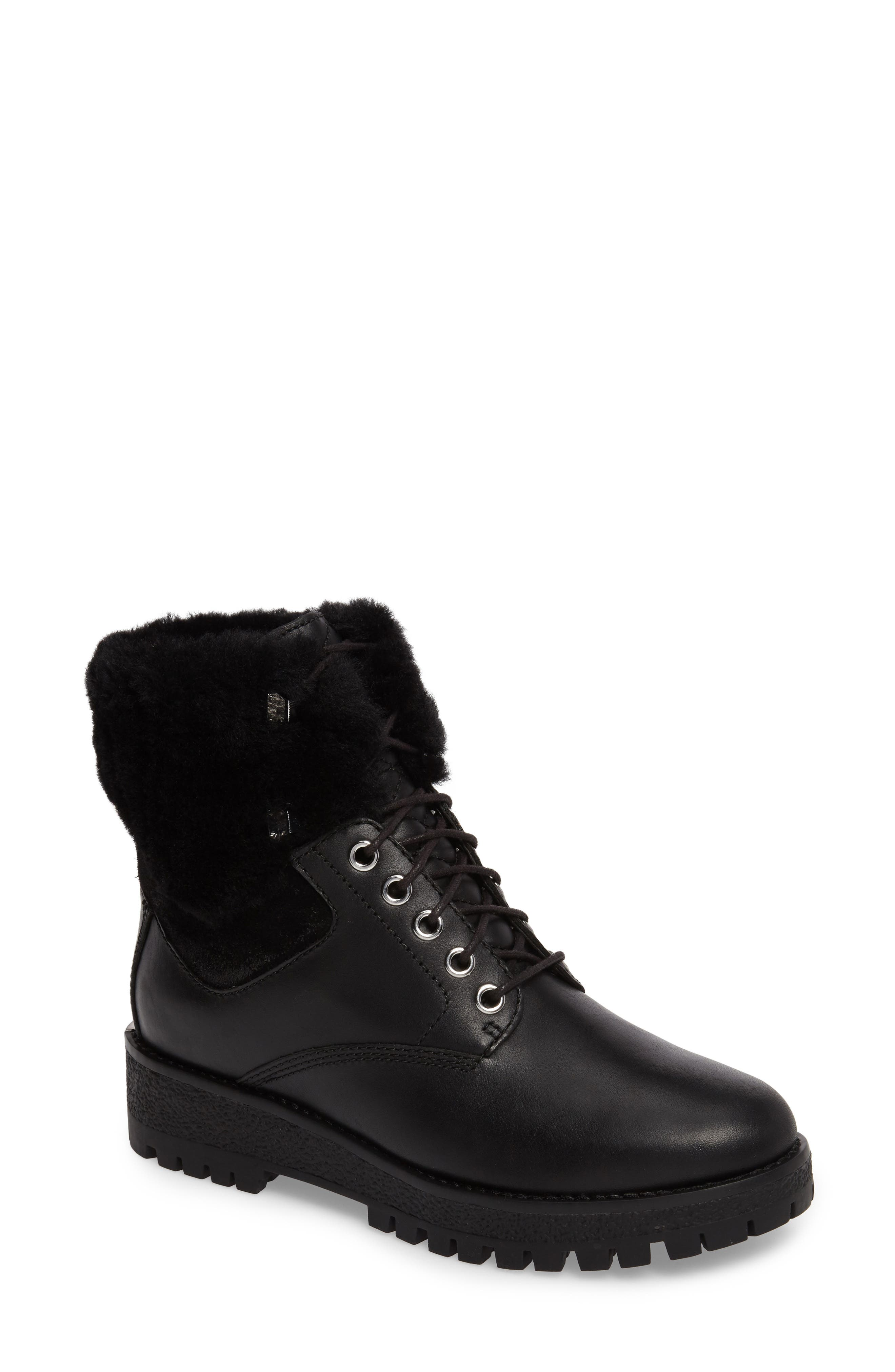 Teddy Water Resistant Boot with Genuine Shearling Trim,                             Main thumbnail 1, color,                             001