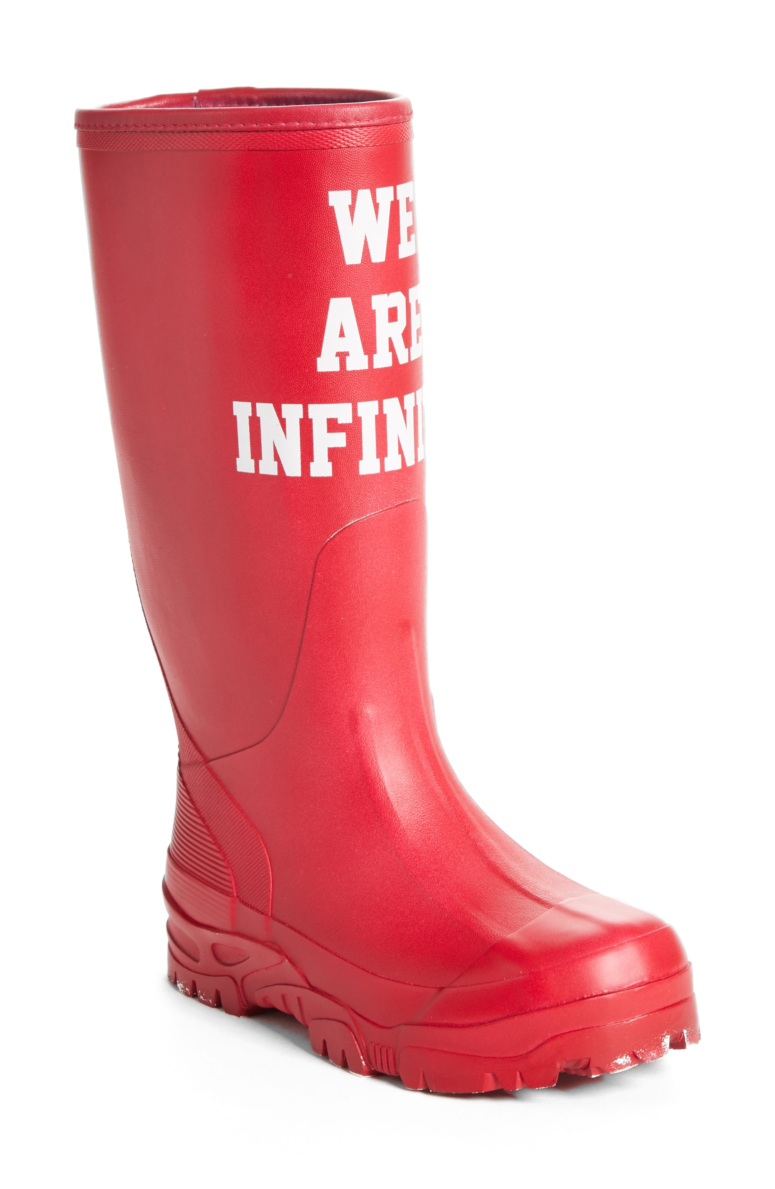 We Are Infinite Rubber Rain Boot in Red