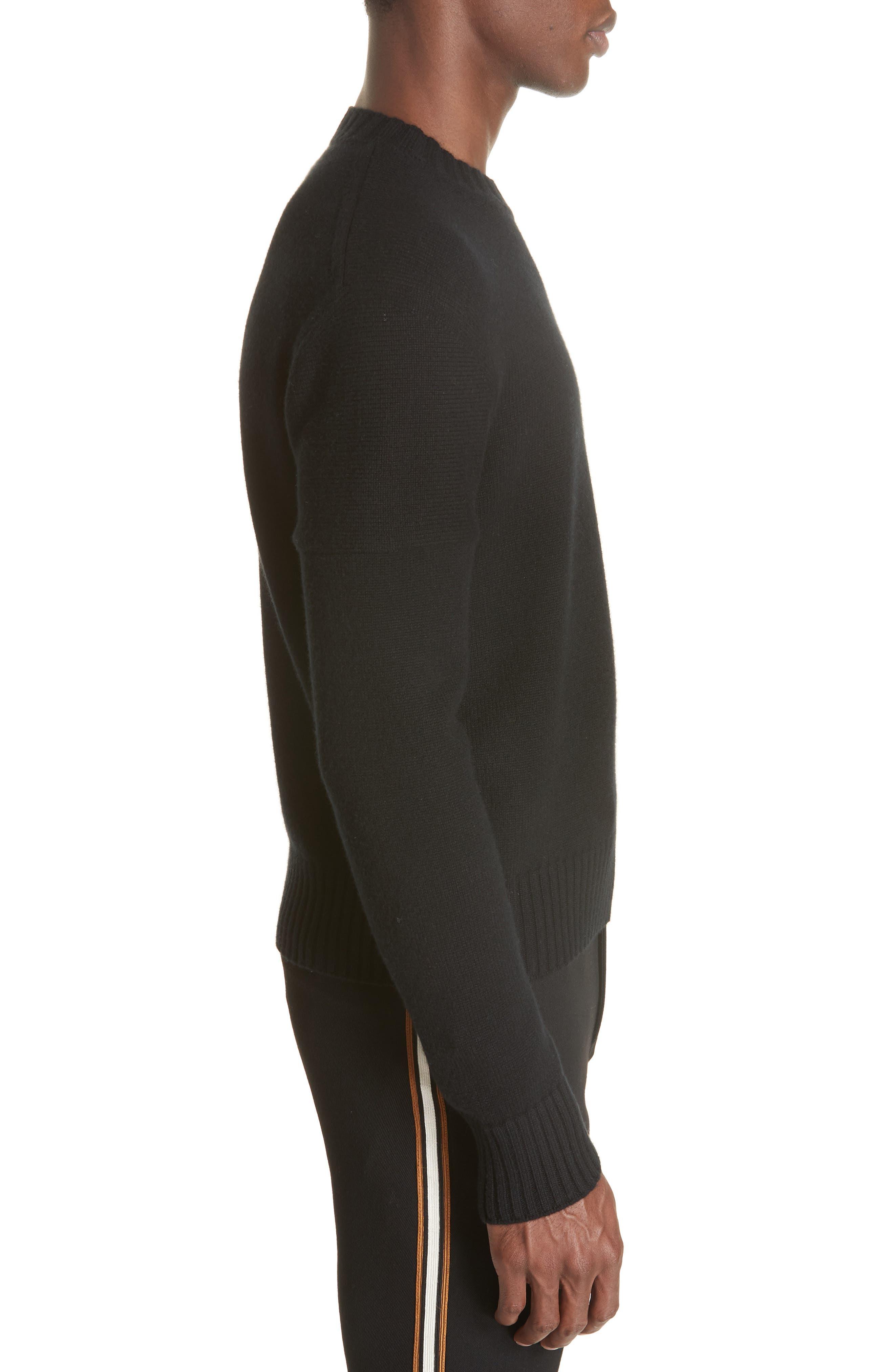 Cashmere Stripe Sleeve Sweater,                             Alternate thumbnail 3, color,                             001