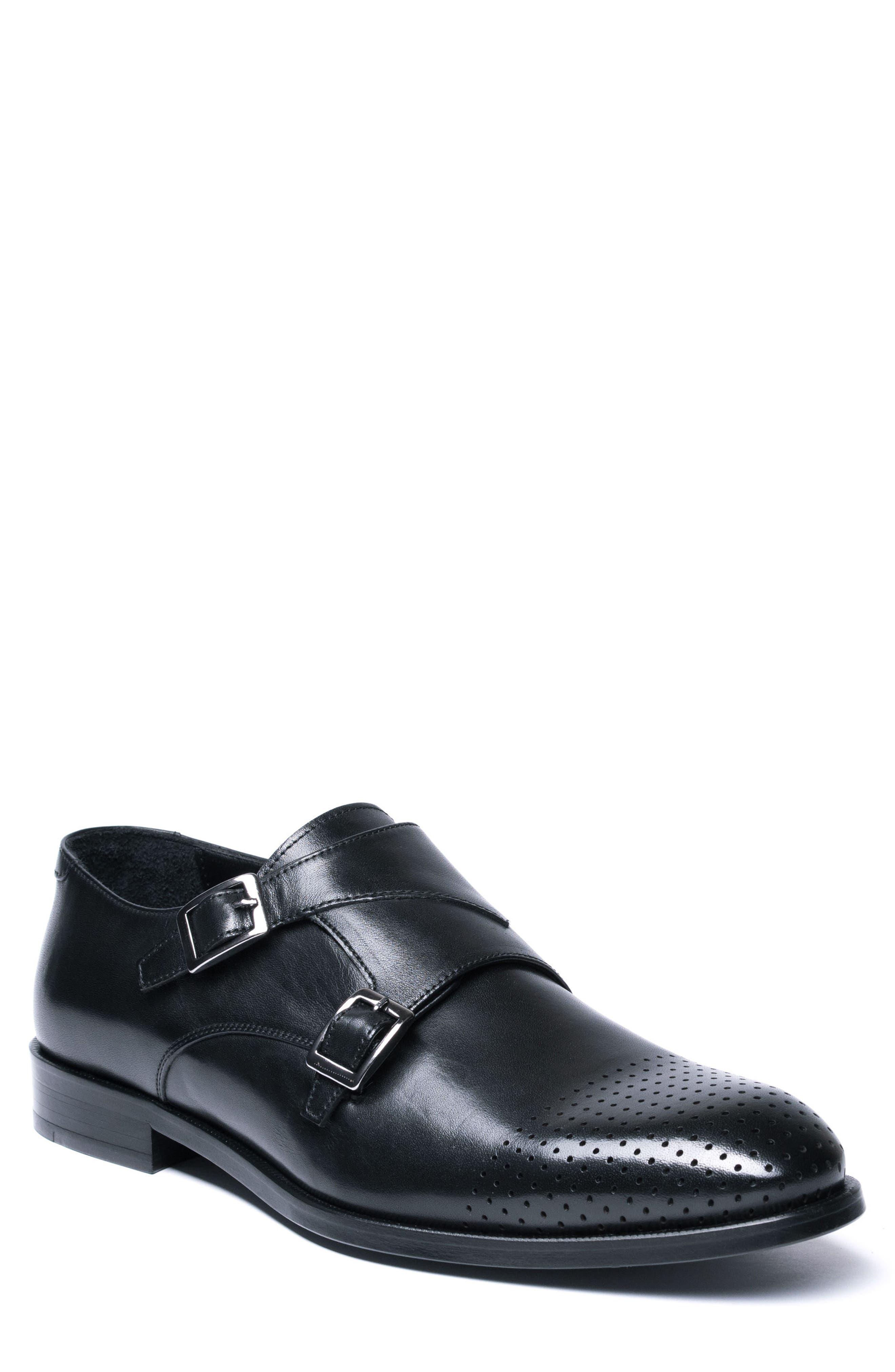 Double Buckle Monk Shoe,                             Main thumbnail 1, color,                             BLACK LEATHER