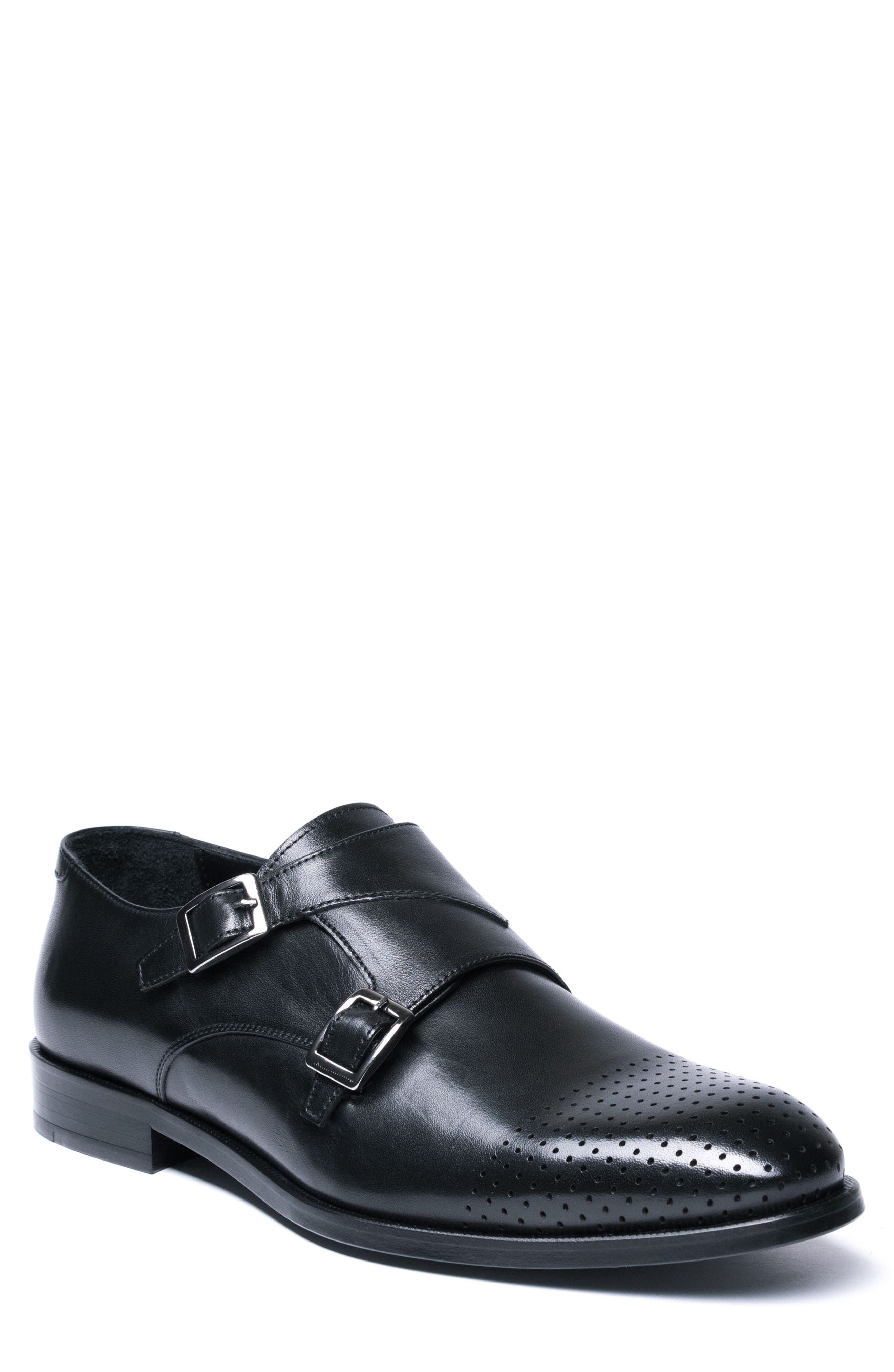 Double Buckle Monk Shoe,                         Main,                         color, BLACK LEATHER