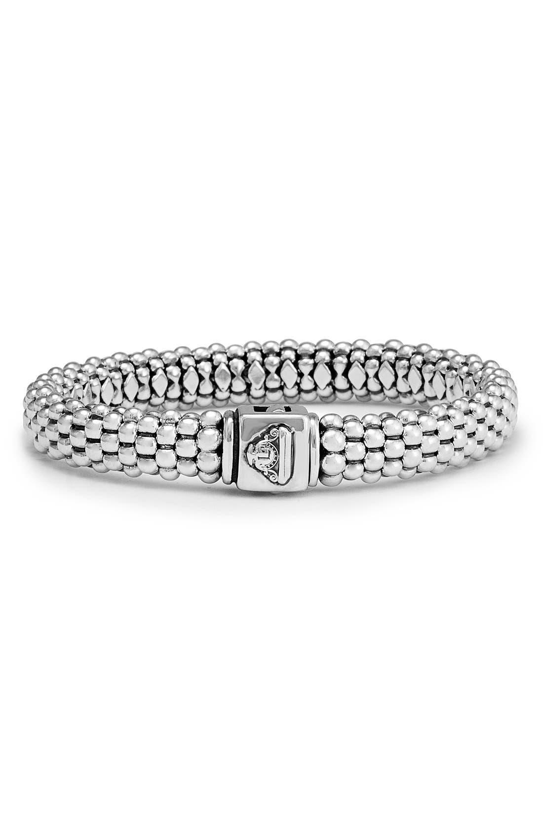 Caviar Rope Bracelet,                             Alternate thumbnail 4, color,                             SILVER