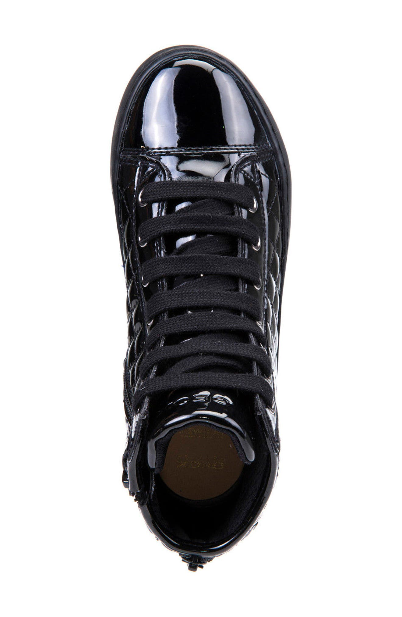 Kalispera Girl Quilted High-Top Sneaker,                             Alternate thumbnail 5, color,                             BLACK