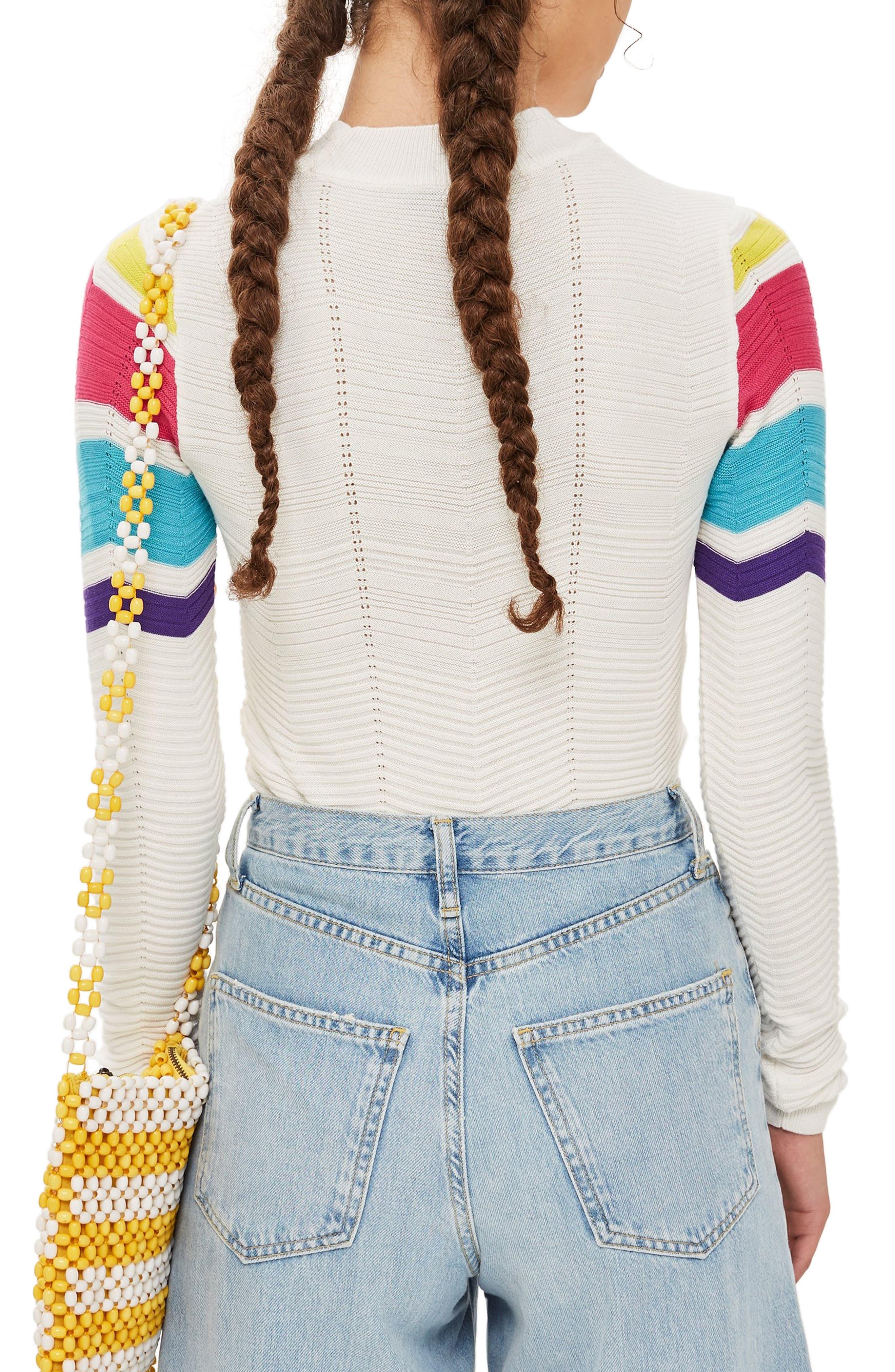 Chevron Stripe Crop Sweater,                             Alternate thumbnail 2, color,                             900