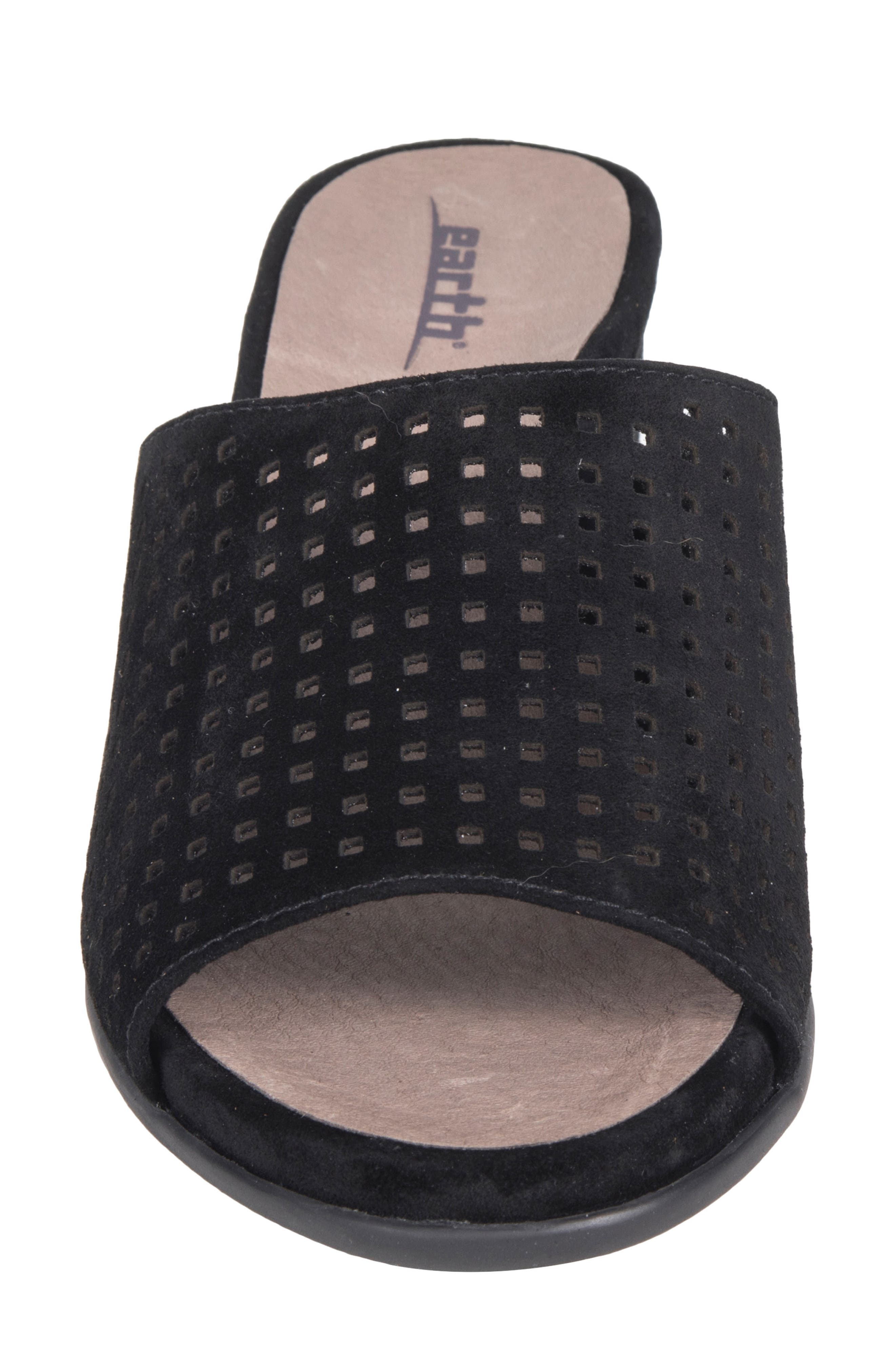 Ibiza Perforated Sandal,                             Alternate thumbnail 4, color,                             BLACK SUEDE