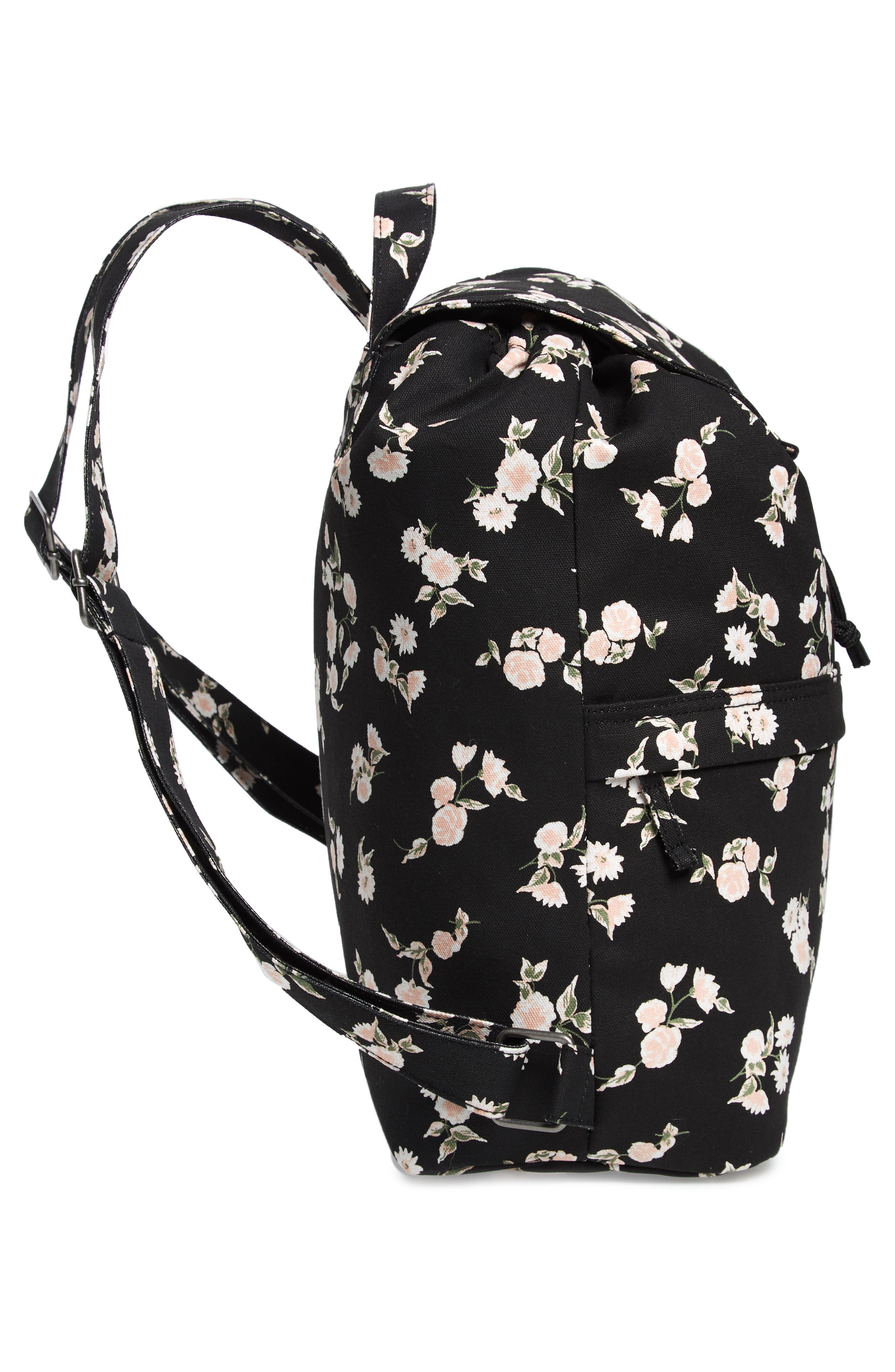 Lakeside Floral Print Backpack,                             Alternate thumbnail 5, color,                             001