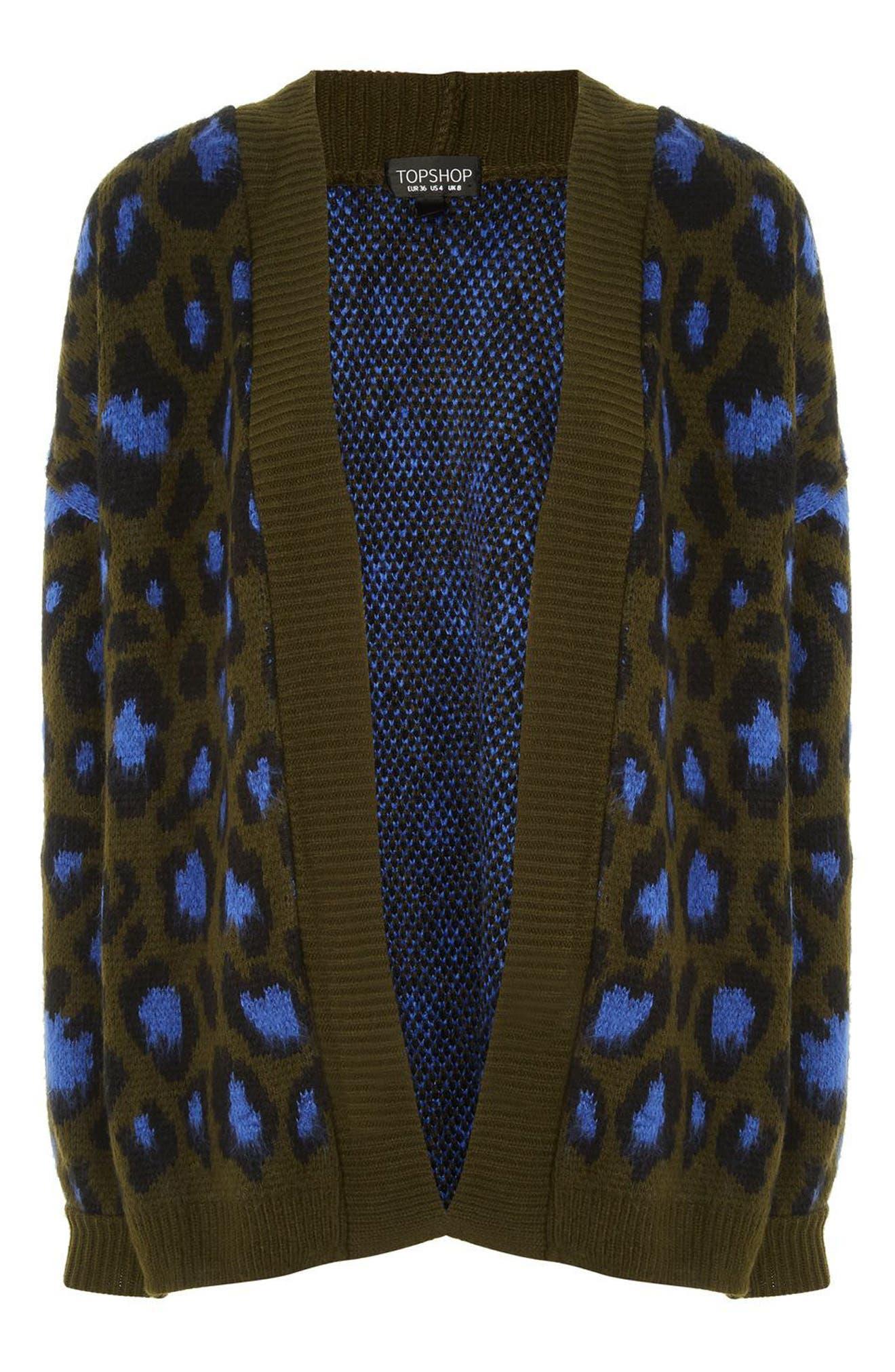 Leopard Print Cardigan,                             Alternate thumbnail 8, color,