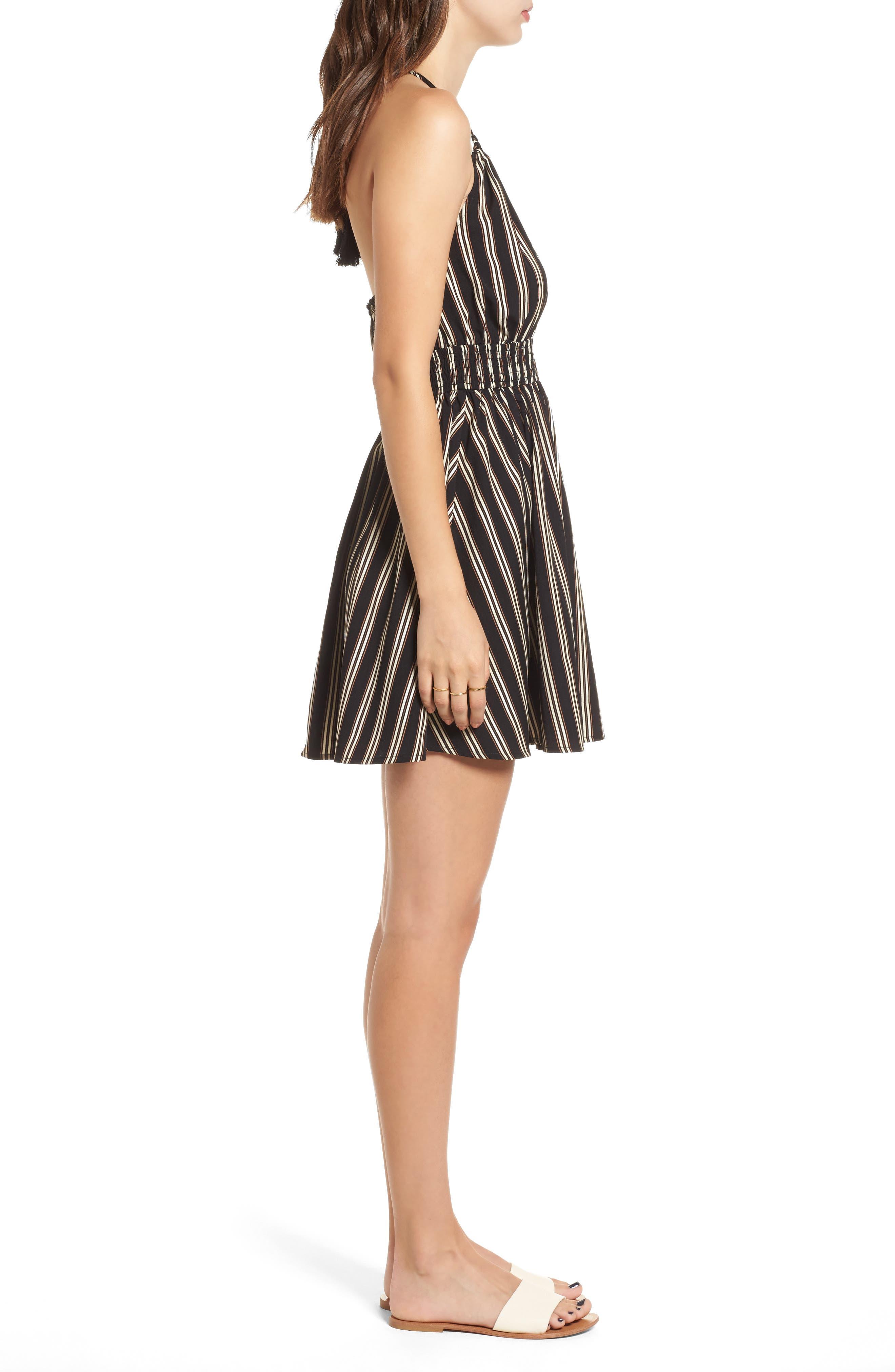 Stripe Halter Skater Dress,                             Alternate thumbnail 3, color,                             003