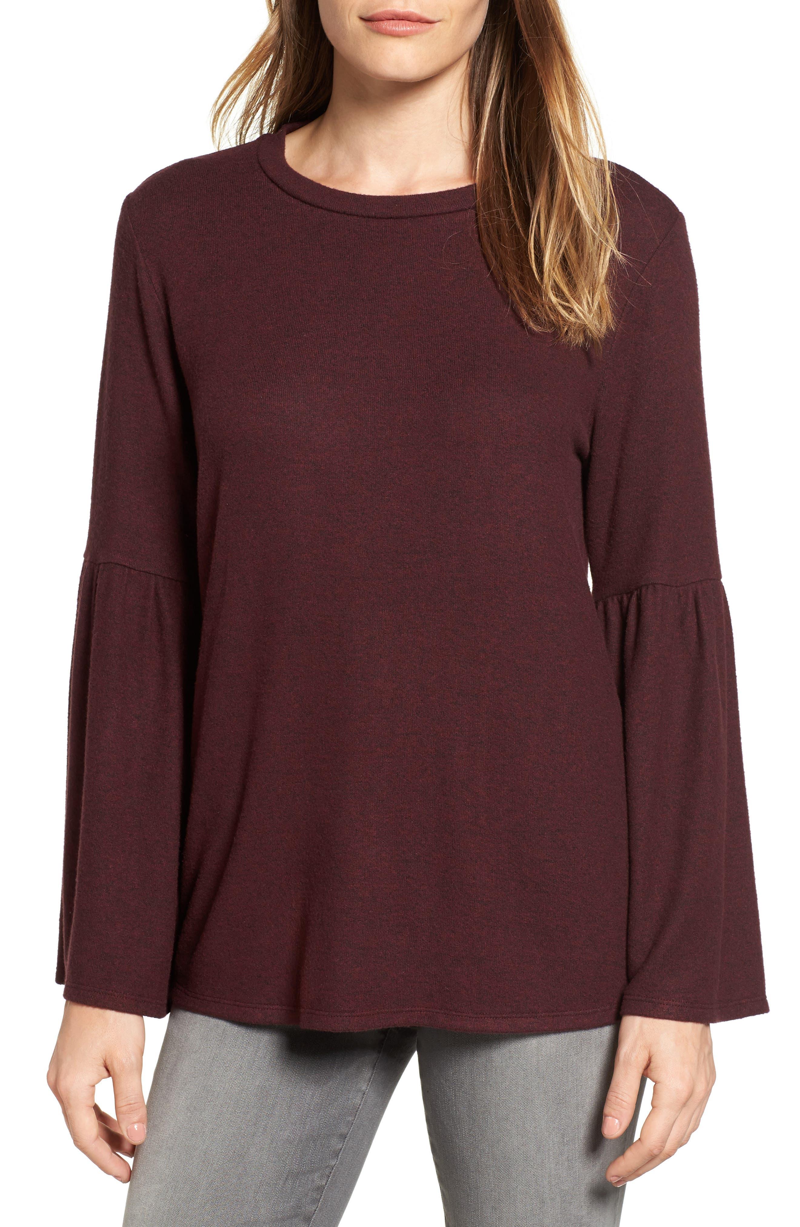 Bell Sleeve Cozy Fleece Pullover,                             Main thumbnail 12, color,