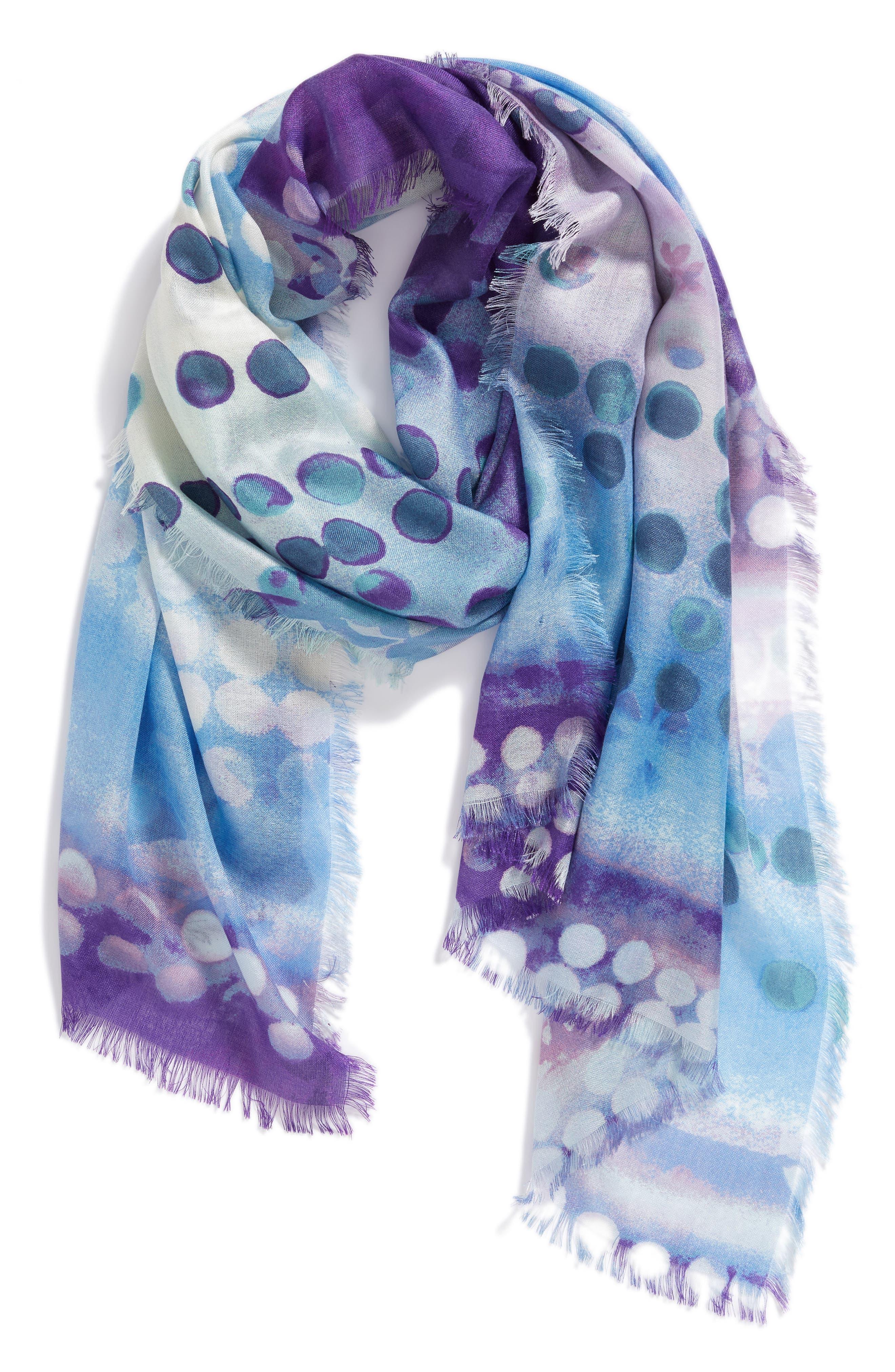 Eyelash Trim Print Cashmere & Silk Wrap,                             Alternate thumbnail 54, color,
