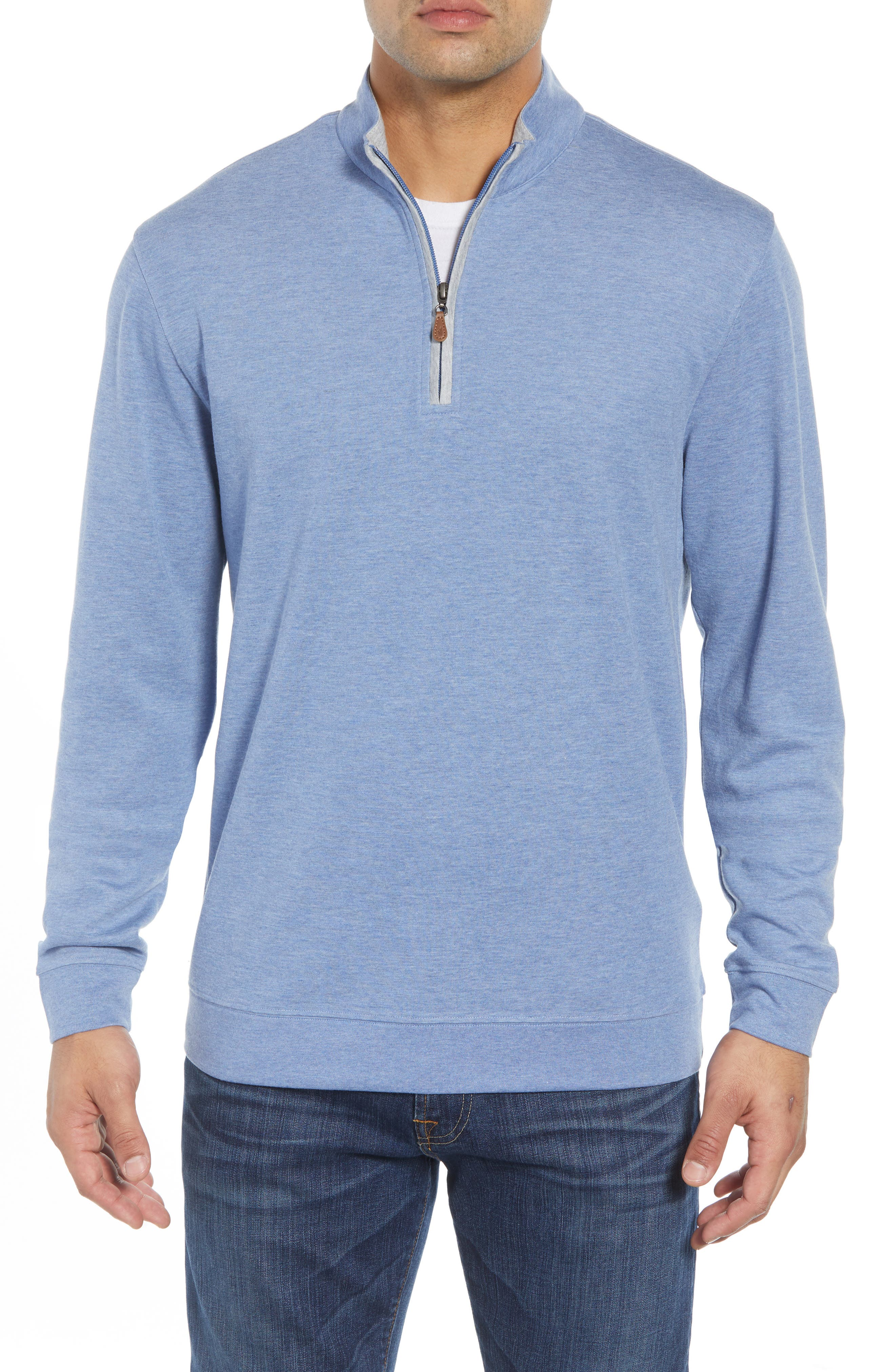 JOHNNIE-O Sully Quarter Zip Pullover in Laguna Blue
