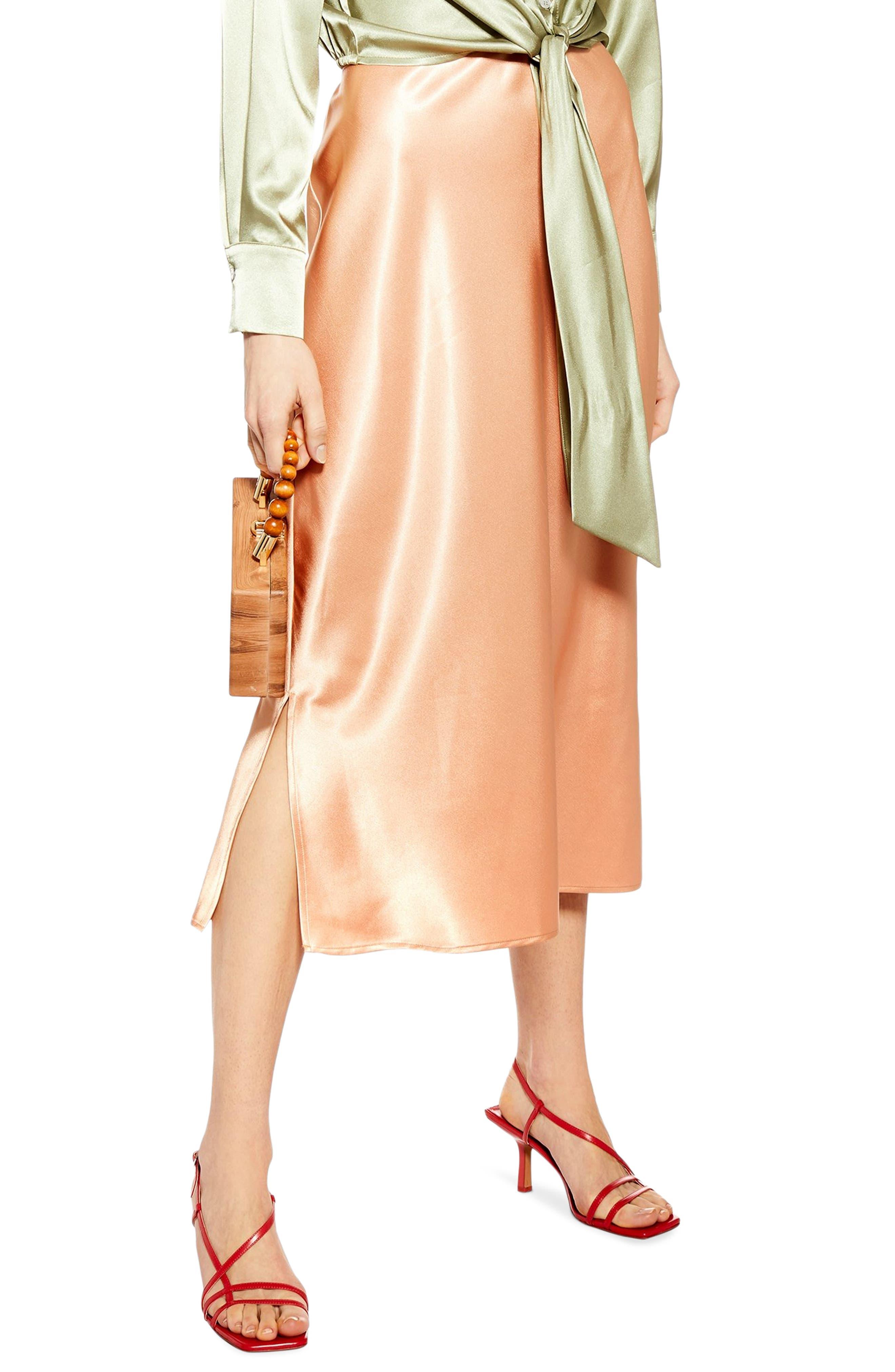 Topshop Slit Bias Cut Satin Midi Skirt, US (fits like 0-2) - Coral