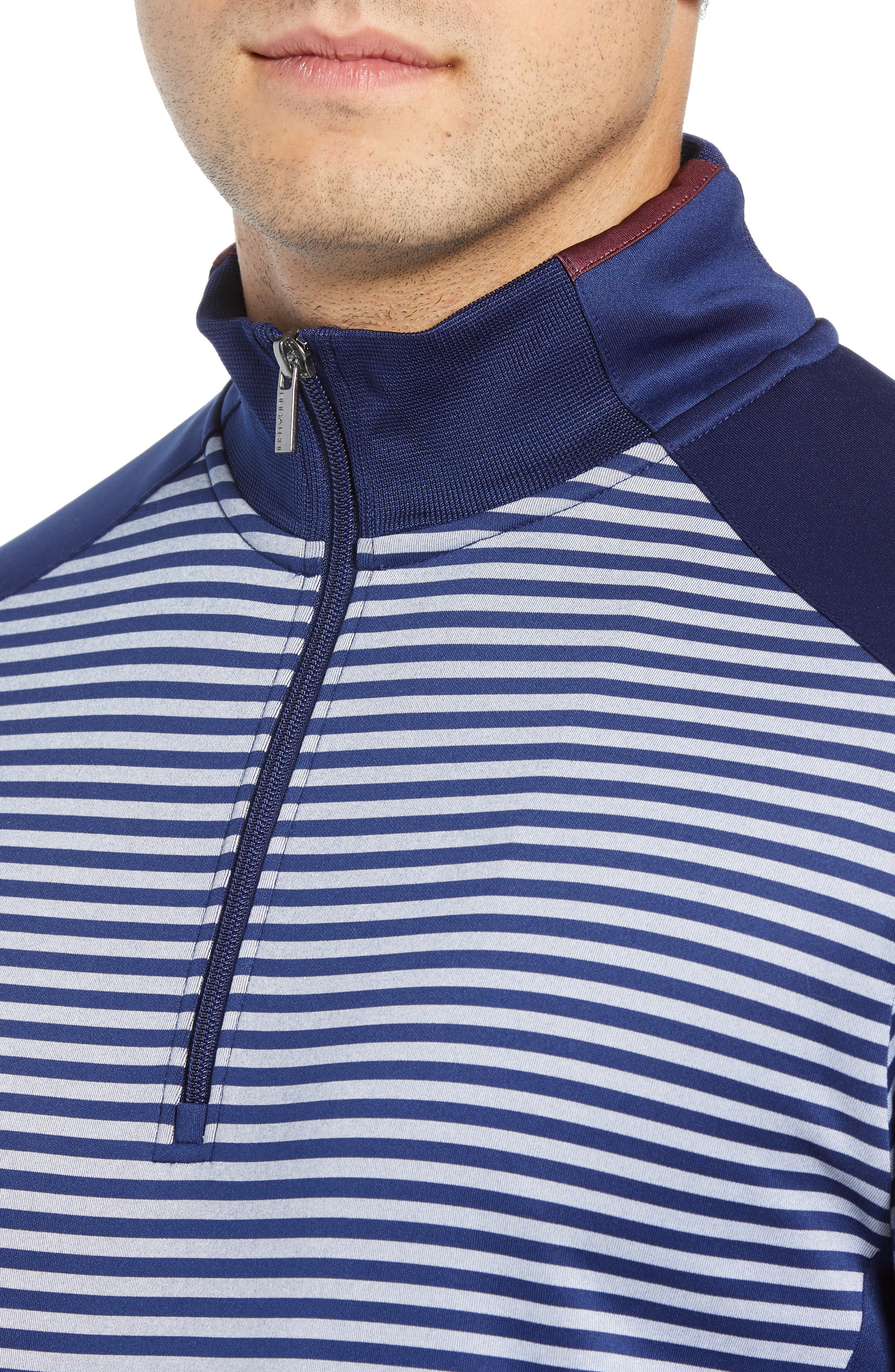 Regular Fit Stripe Quarter Zip Pullover,                             Alternate thumbnail 4, color,                             NAVY
