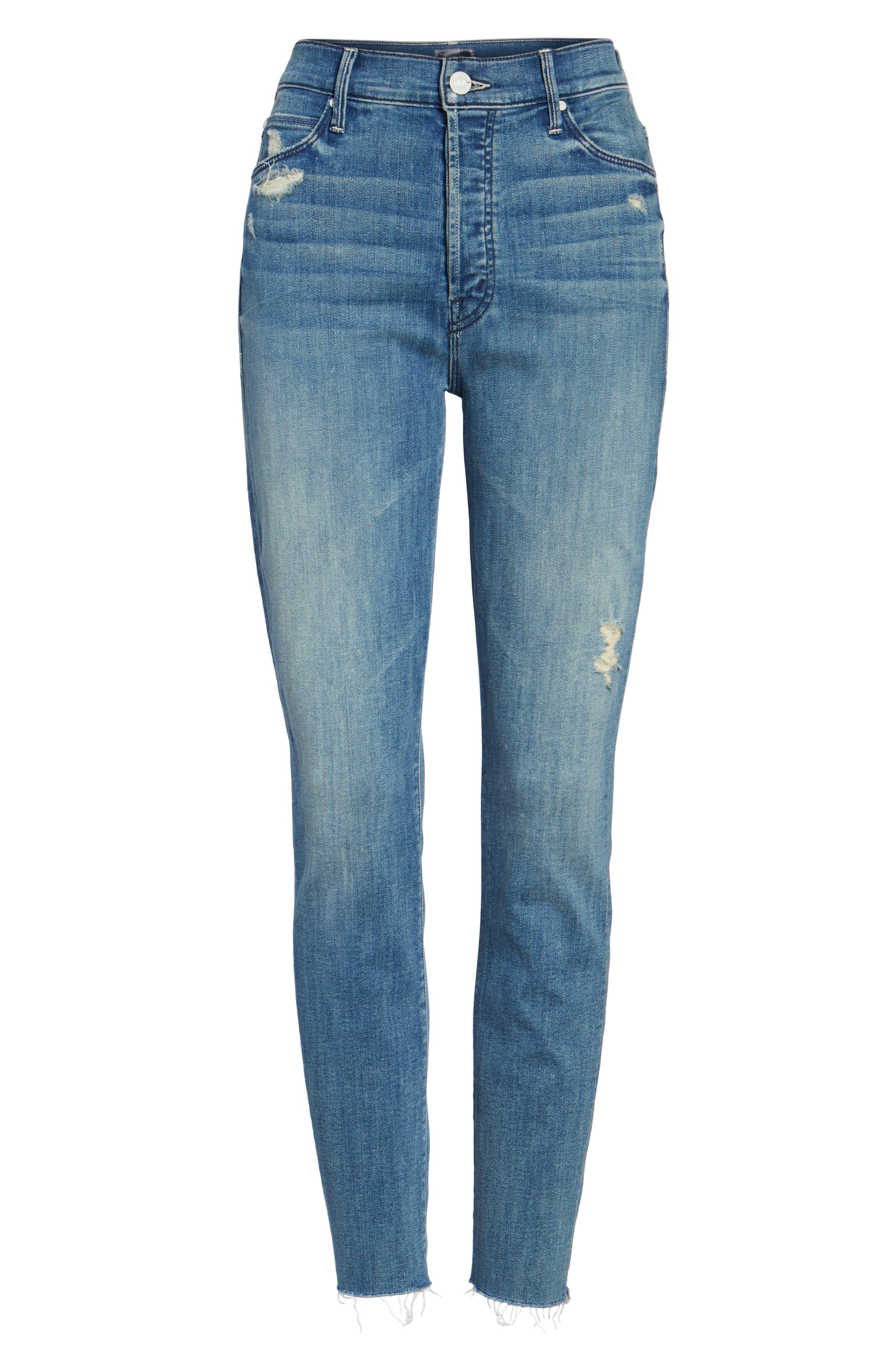 The Stunner Frayed Ankle Skinny Jeans,                             Alternate thumbnail 7, color,                             GRAFITTI GIRL
