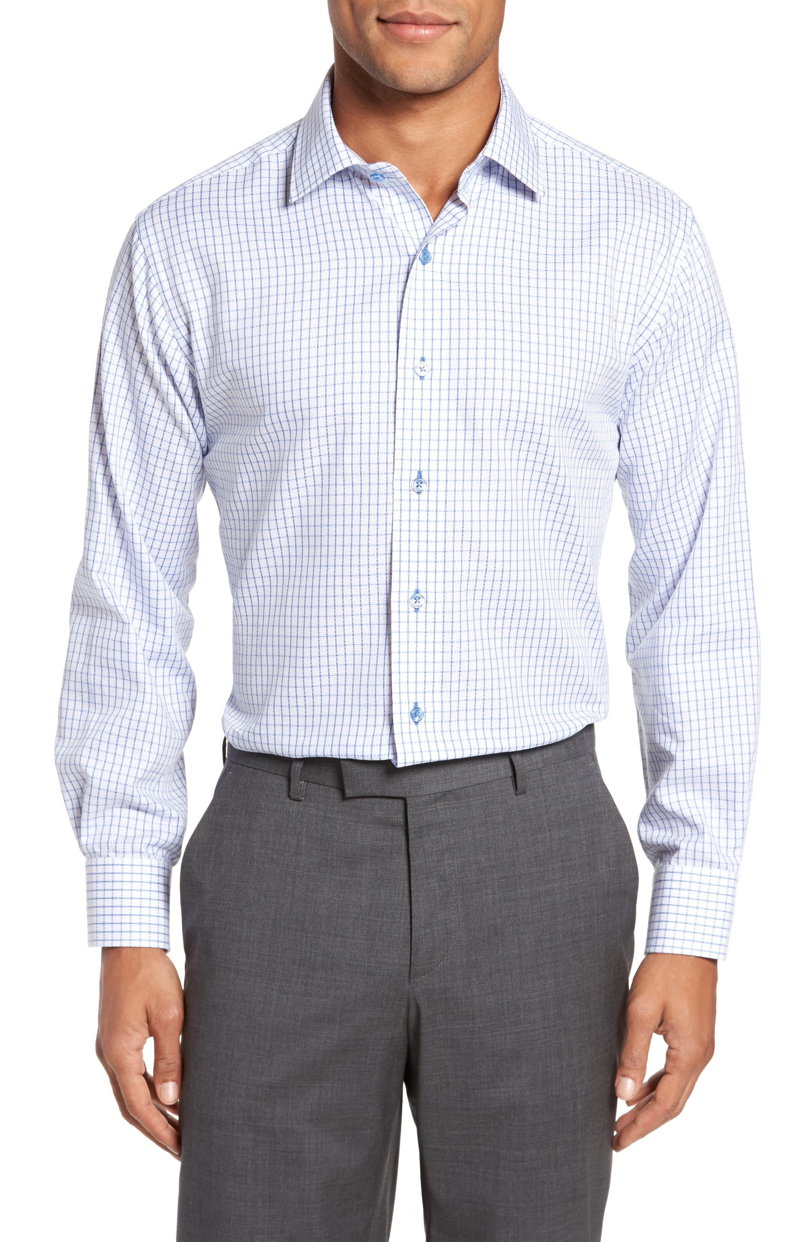 Trim Fit Textured Check Dress Shirt,                         Main,                         color, LIGHT BLUE