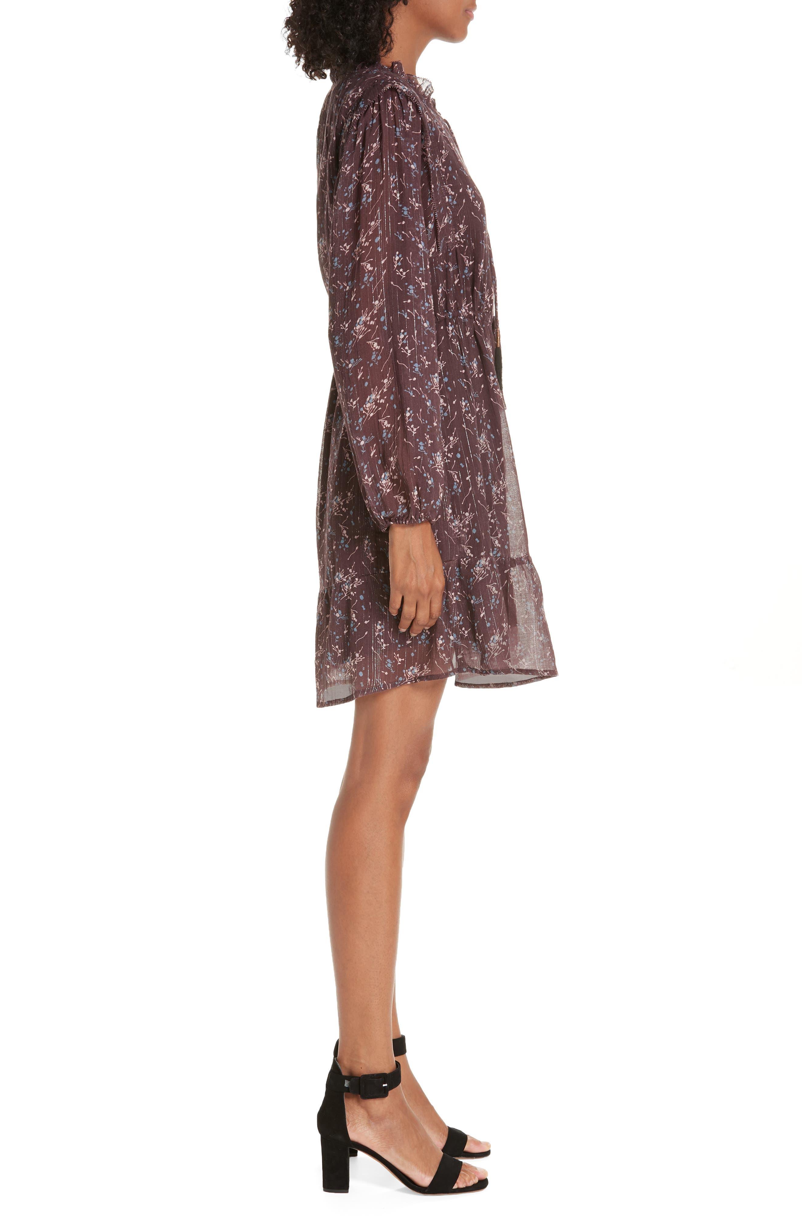 Ruffled Drawstring Waist Dress,                             Alternate thumbnail 3, color,                             BROWN PLUM BLOSSOM