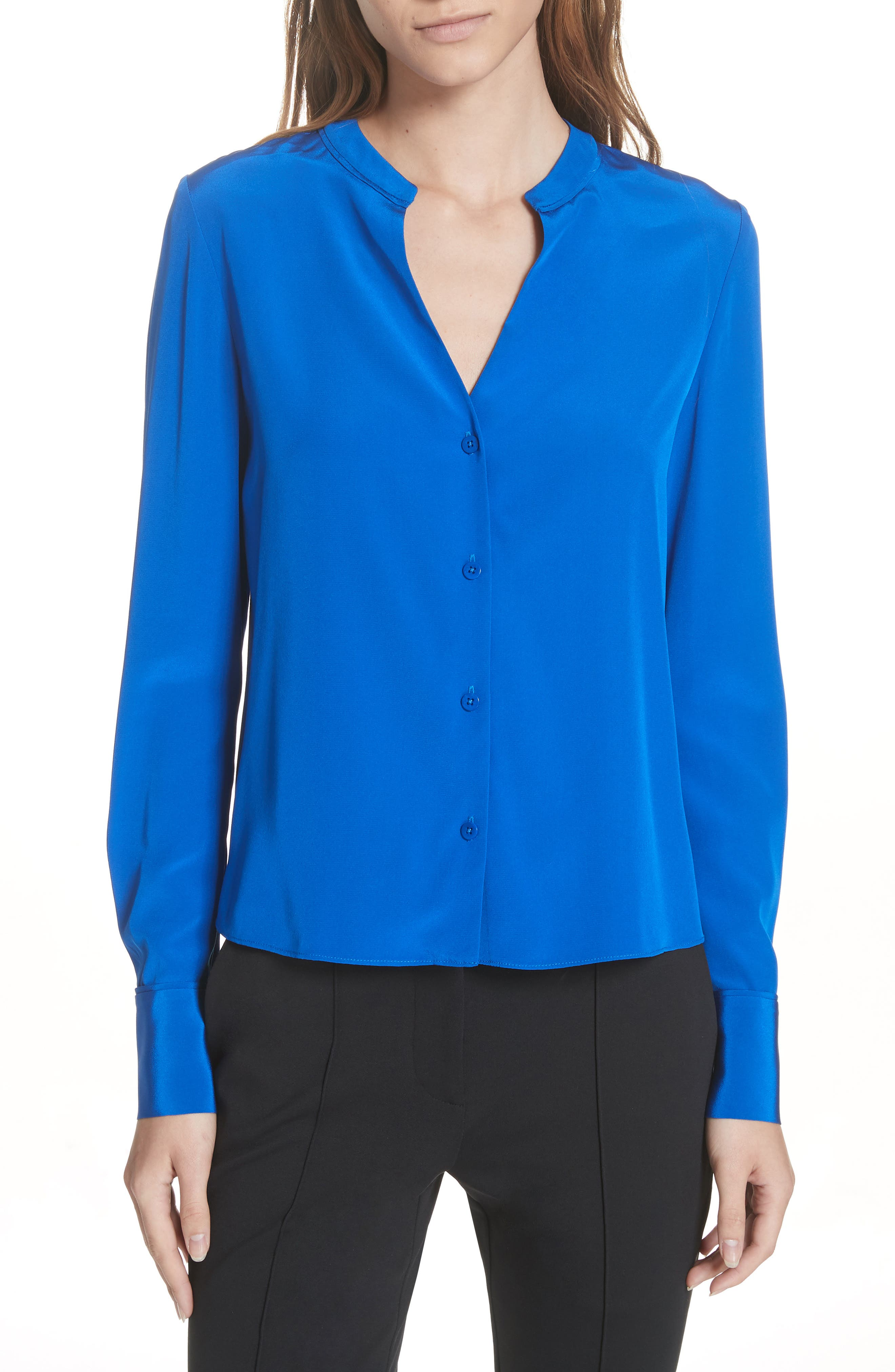 Front Button Collarless Silk Blouse,                         Main,                         color, COBALT