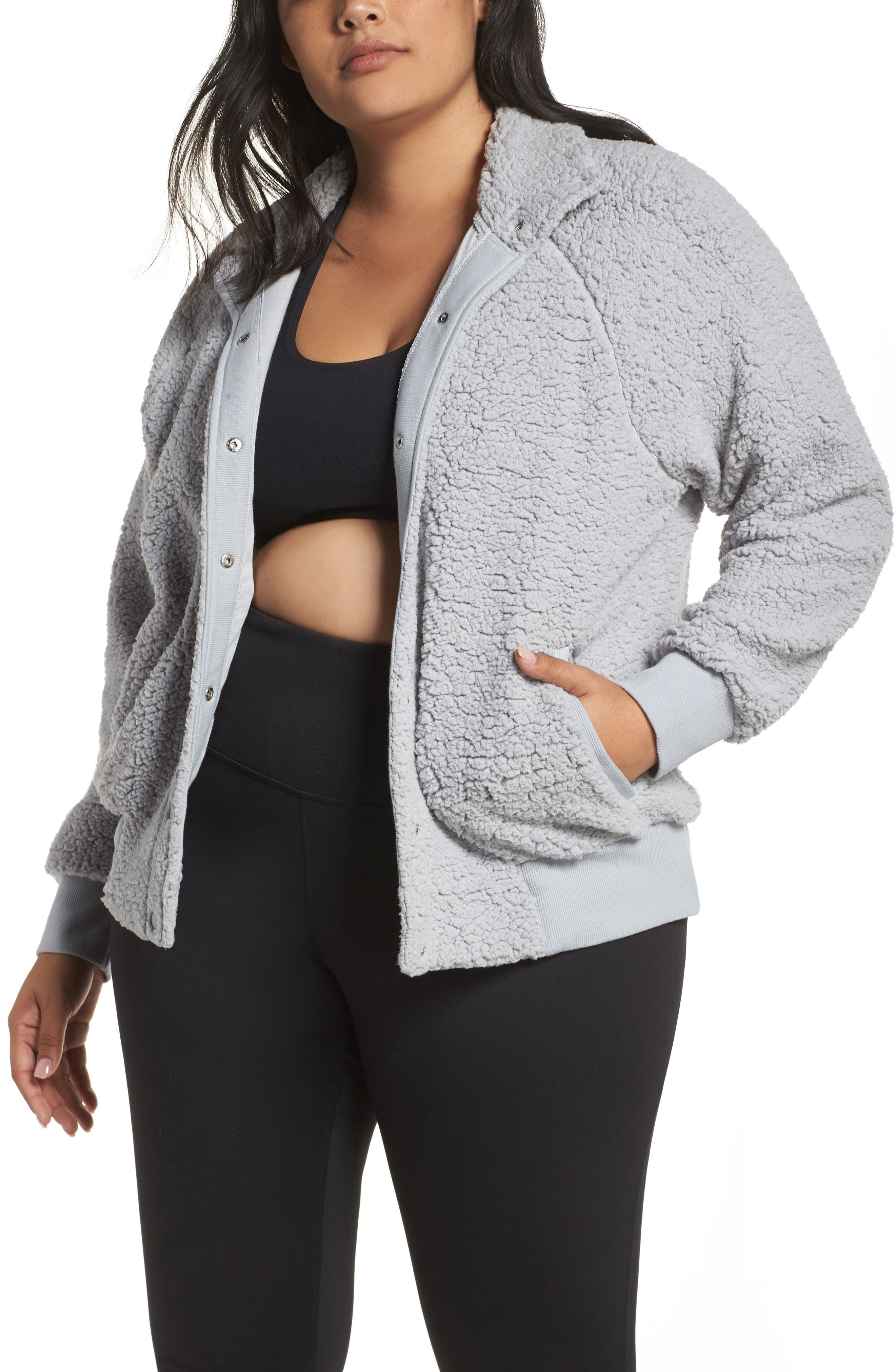 Cozy Up Bomber Jacket,                         Main,                         color, GREY WOLF