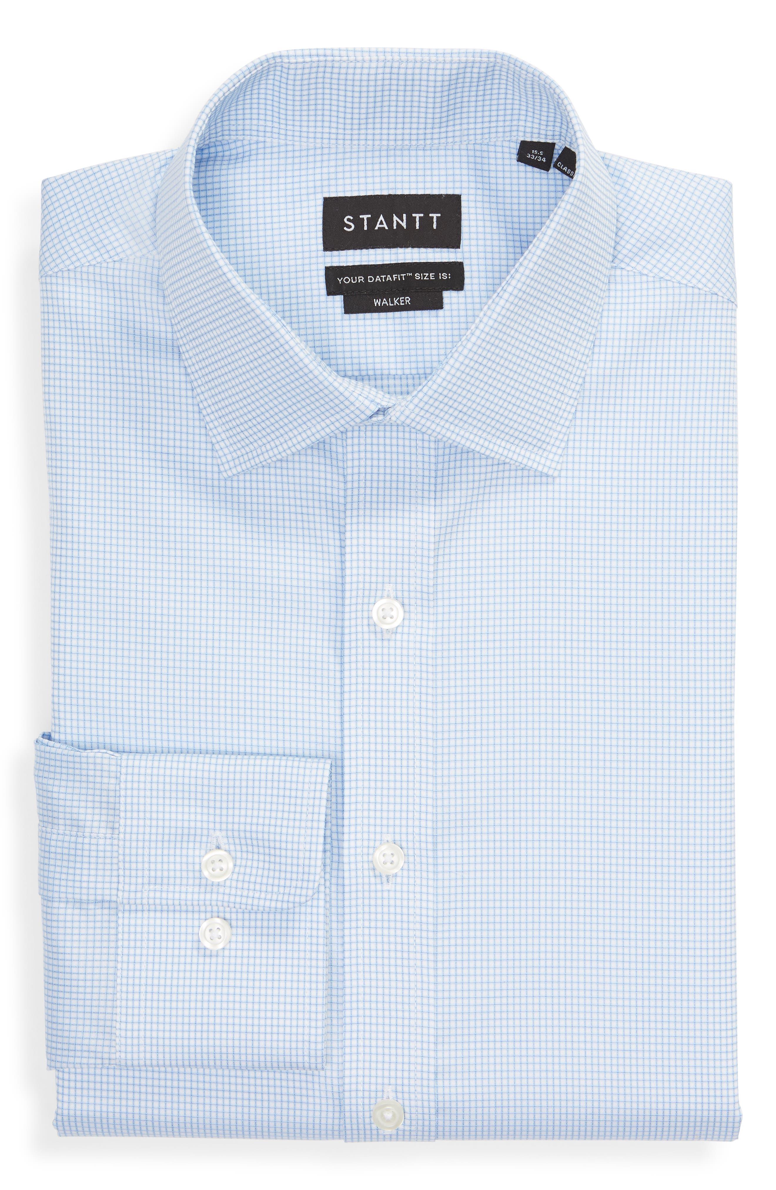 Classic Fit Check Dress Shirt,                             Alternate thumbnail 5, color,                             BLUE