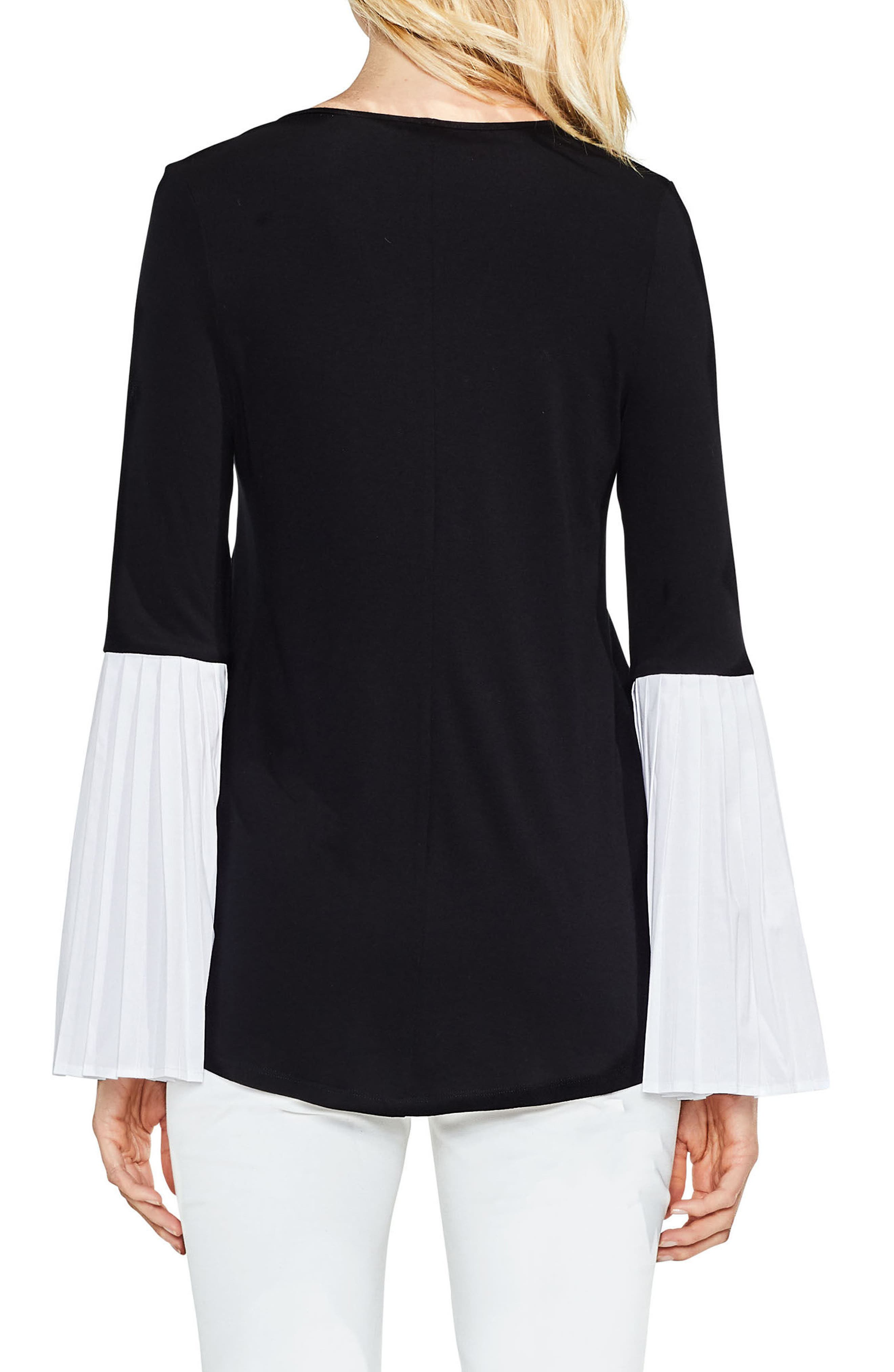 Pleated Bell Sleeve Mix Media Top,                             Alternate thumbnail 2, color,