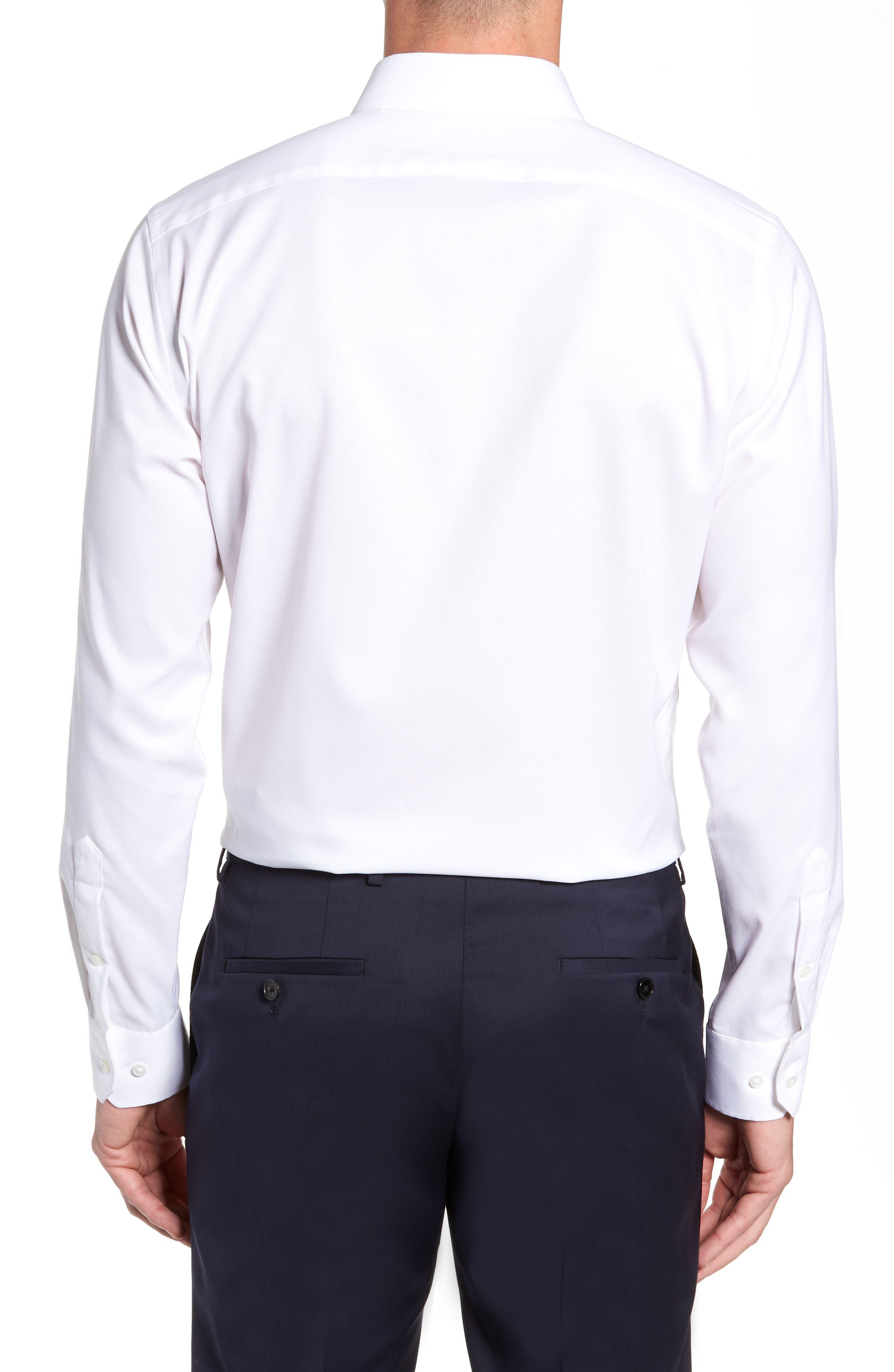 Trim Fit Stretch No-Iron Solid Dress Shirt,                             Alternate thumbnail 3, color,                             WHITE