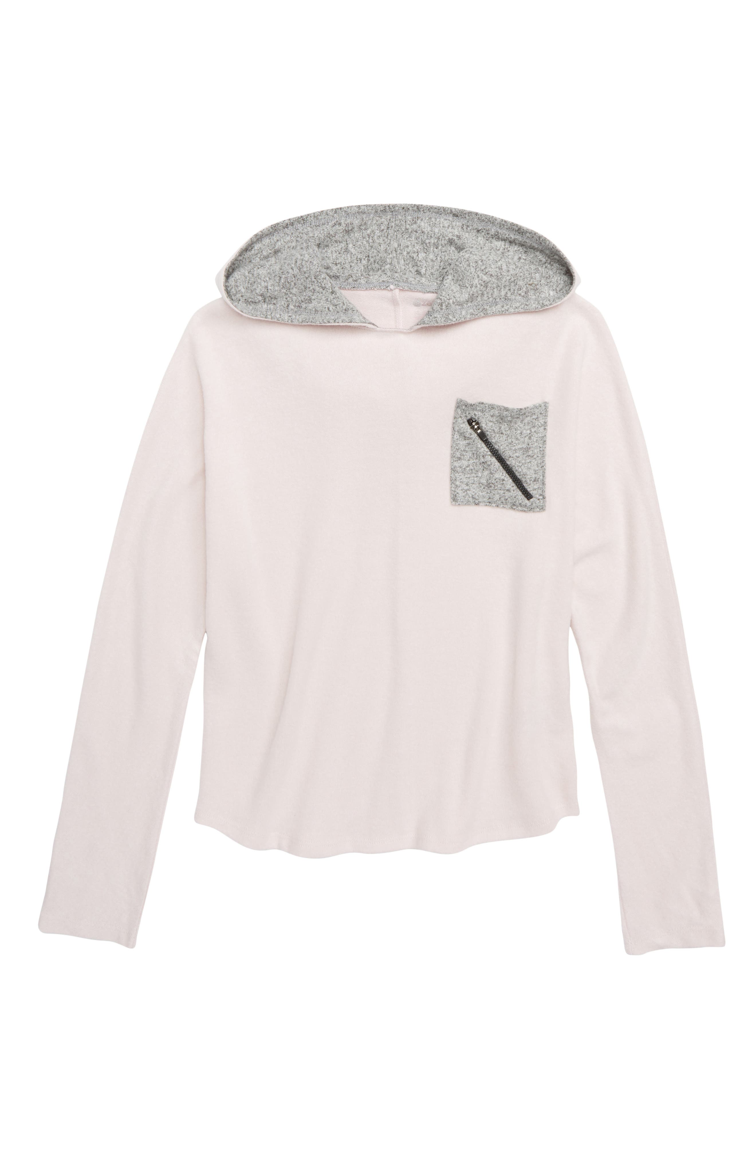 Contrast Pocket Hooded Pullover,                             Main thumbnail 1, color,                             PINK CAKE HEATHER