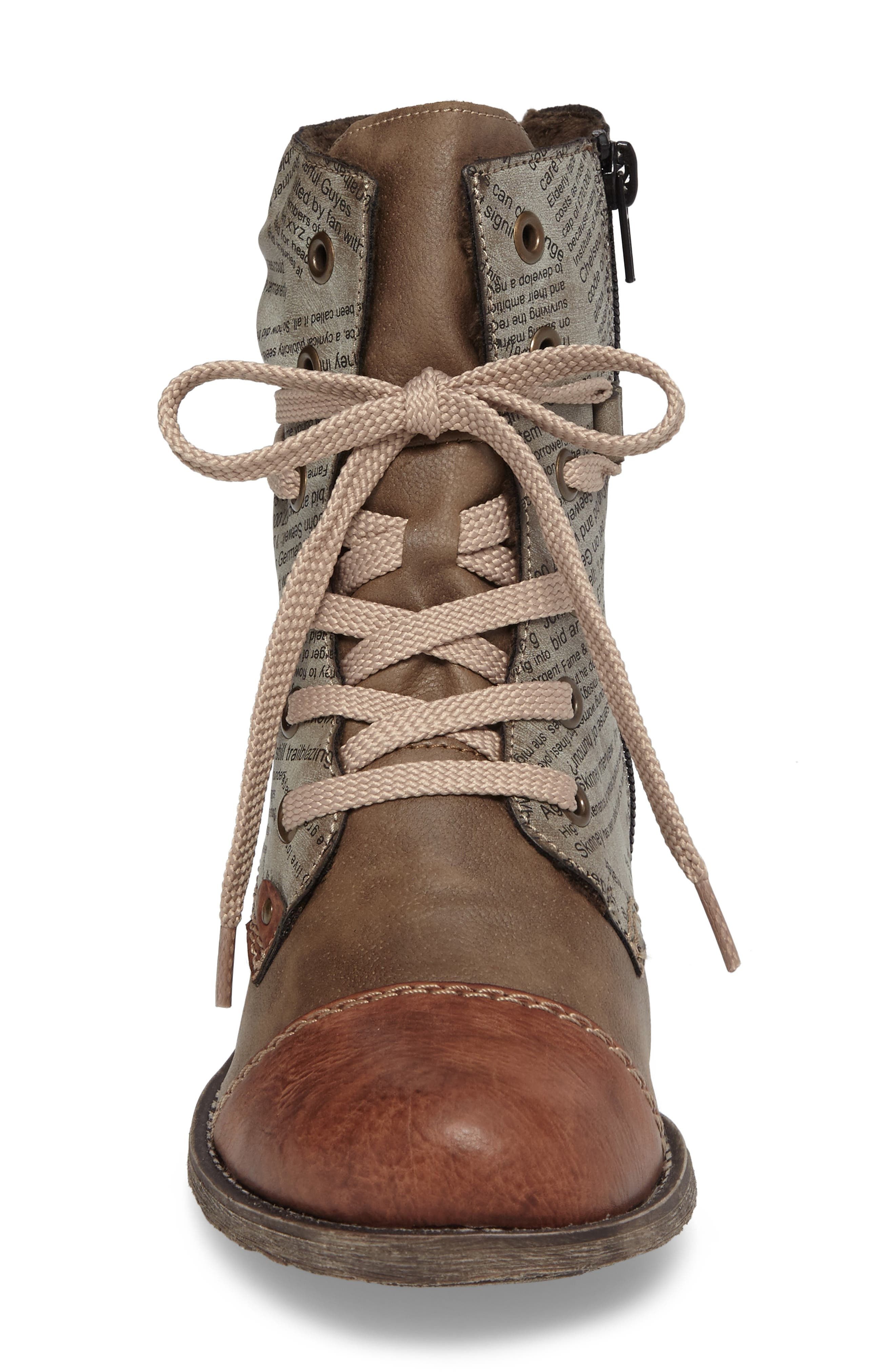 Payton 22 Lace-Up Boot,                             Alternate thumbnail 4, color,                             BRANDY/ CIGAR FAUX LEATHER