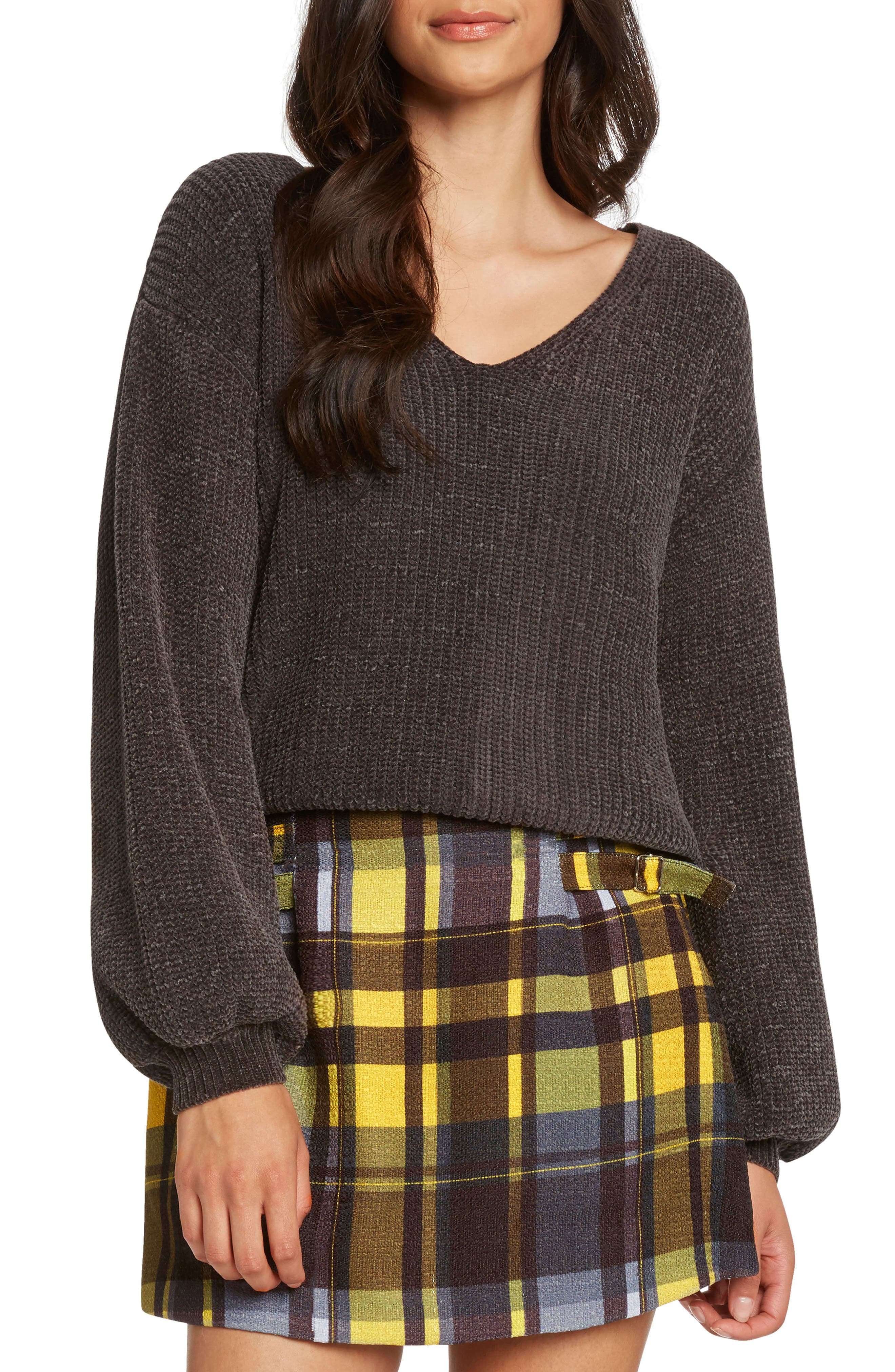 Tie Back Chenille Sweater,                             Main thumbnail 1, color,                             CHARCOAL