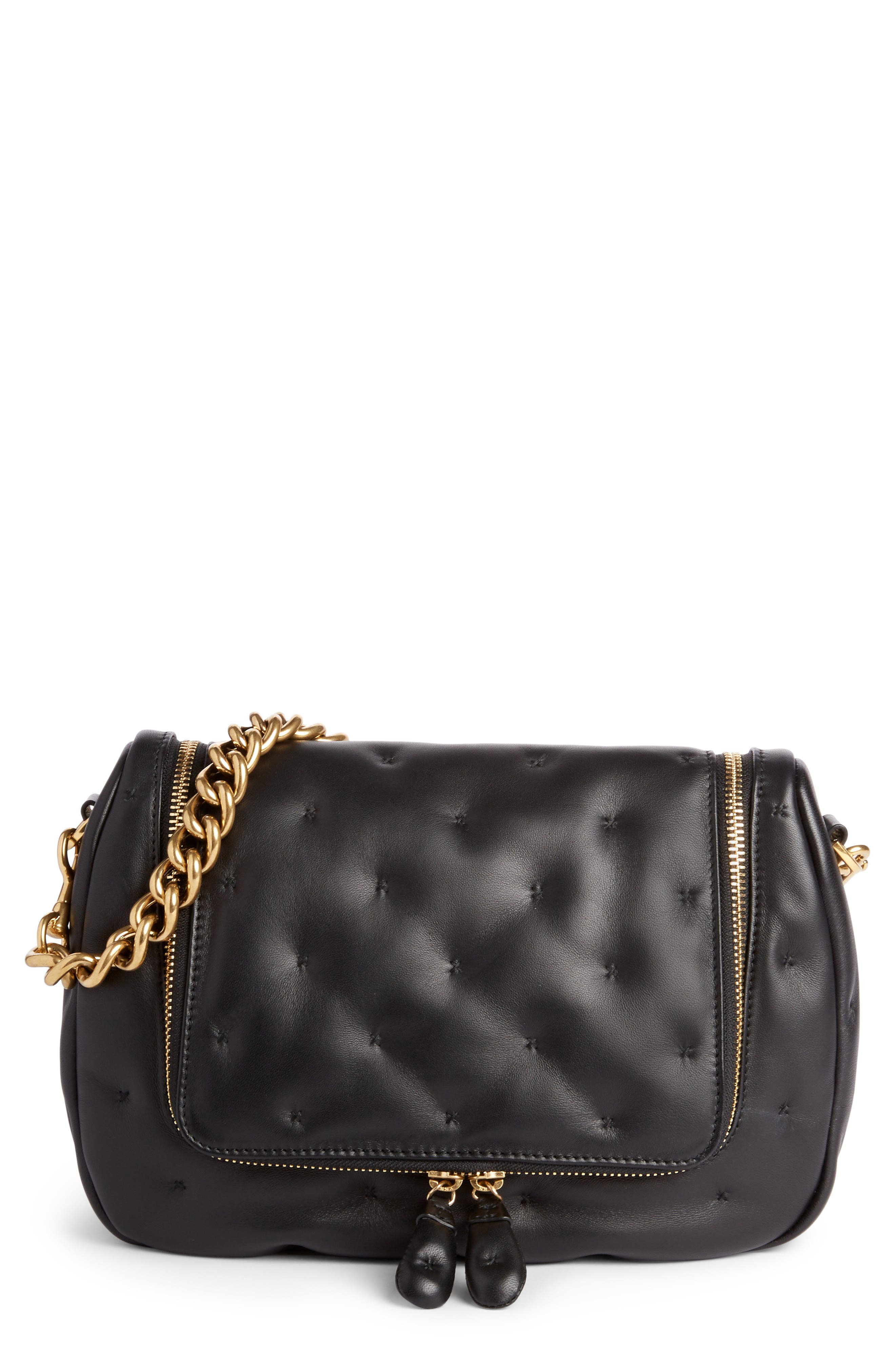 Small Vere Chubby Lambskin Leather Satchel,                             Main thumbnail 1, color,                             BLACK