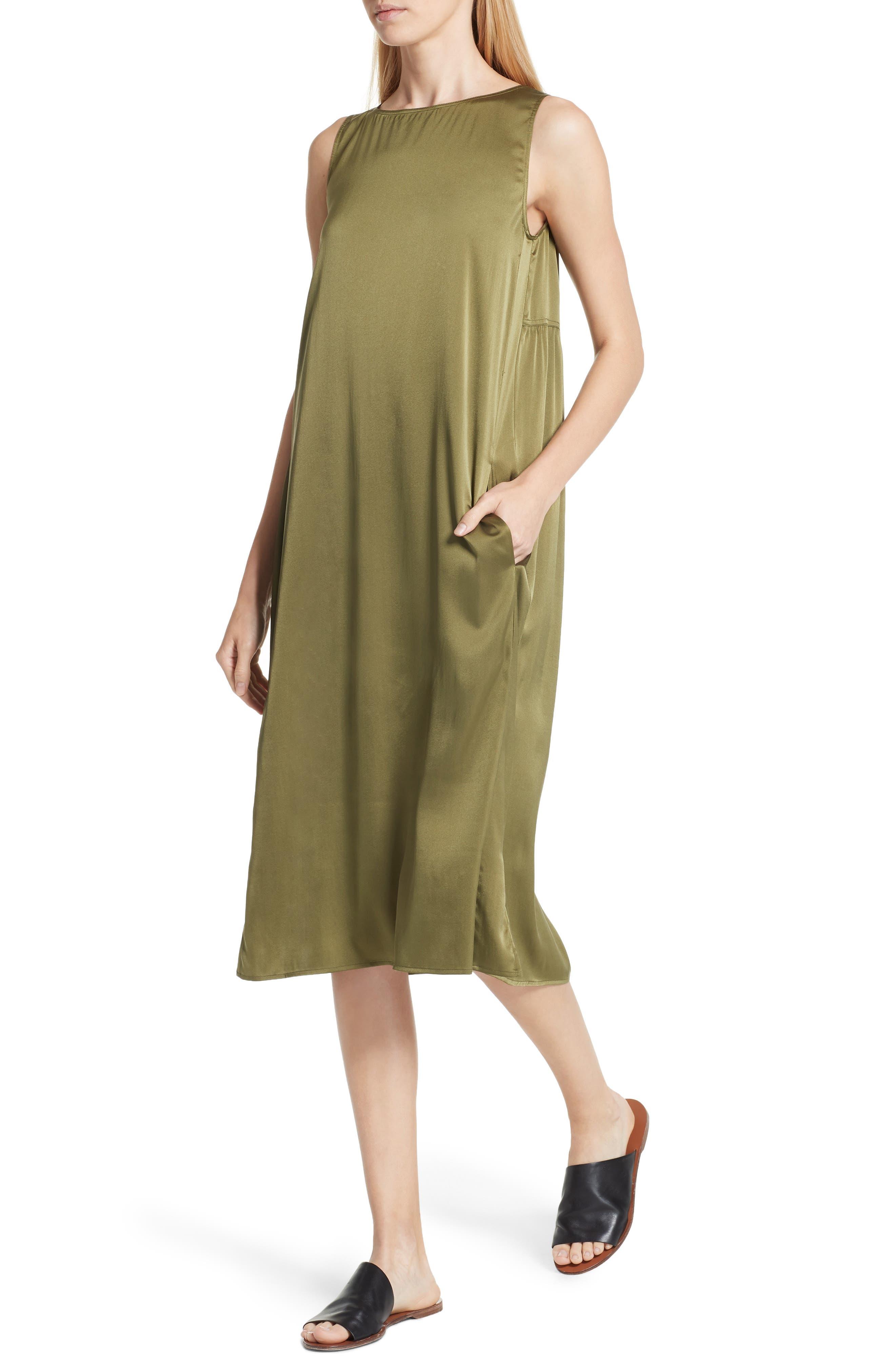 EILEEN FISHER,                             Stretch Silk Tank Dress,                             Alternate thumbnail 4, color,                             301