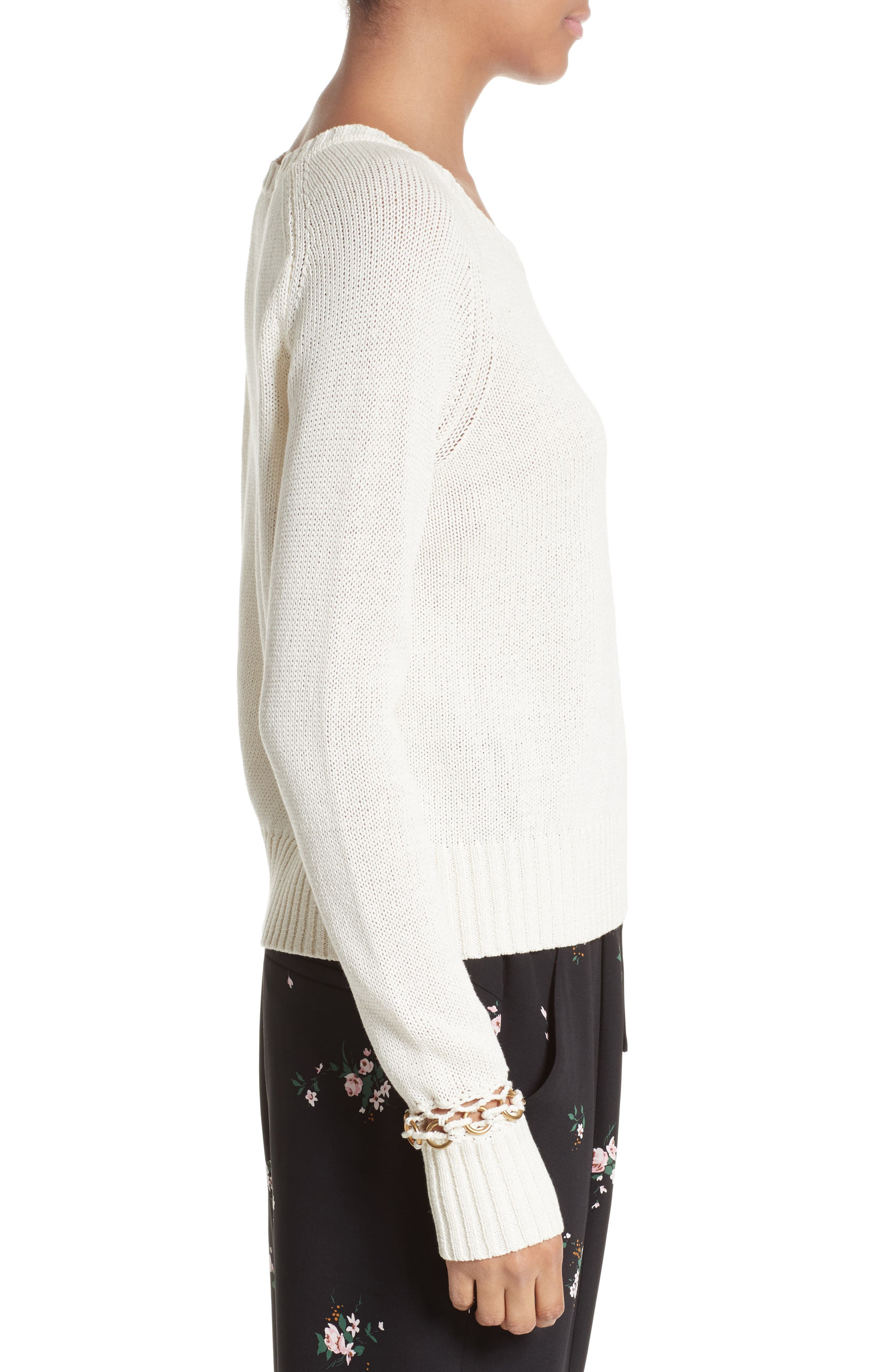 Dree Embellished Cuff Cotton Sweater,                             Alternate thumbnail 3, color,                             101