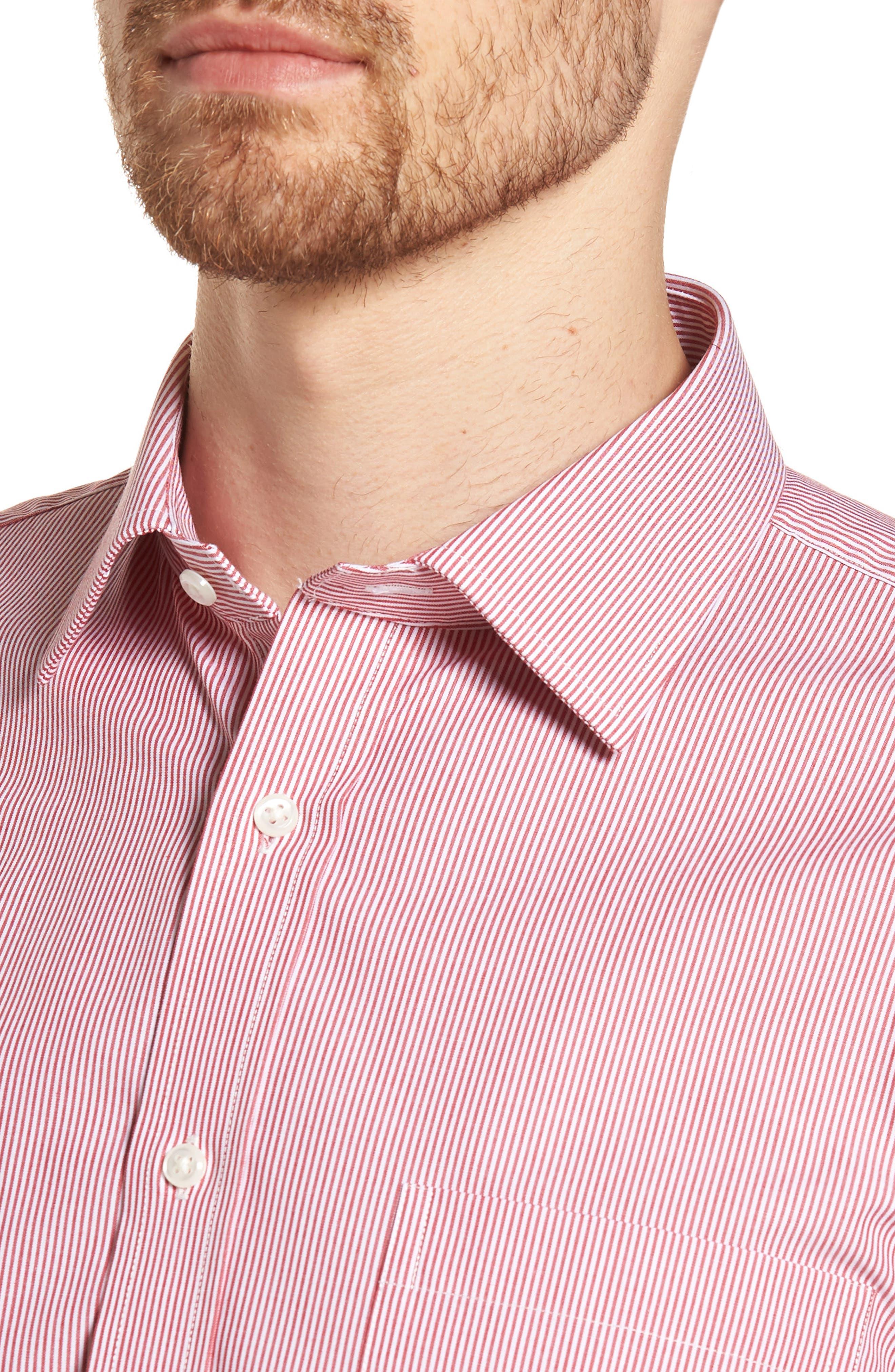 Trim Fit Non-Iron Stripe Dress Shirt,                             Alternate thumbnail 11, color,