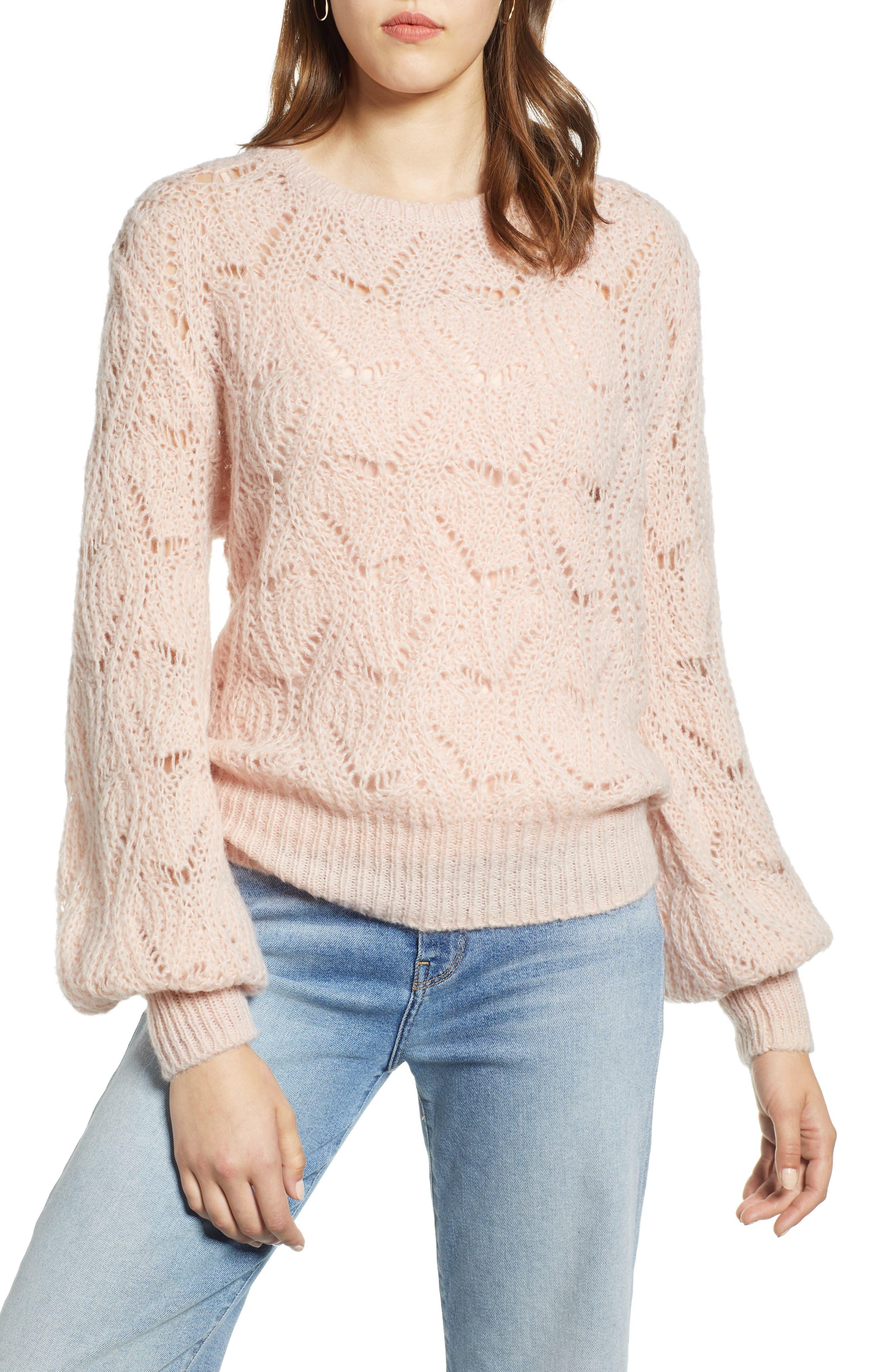 Pointelle Balloon Sleeve Sweater,                         Main,                         color, PINK SMOKE