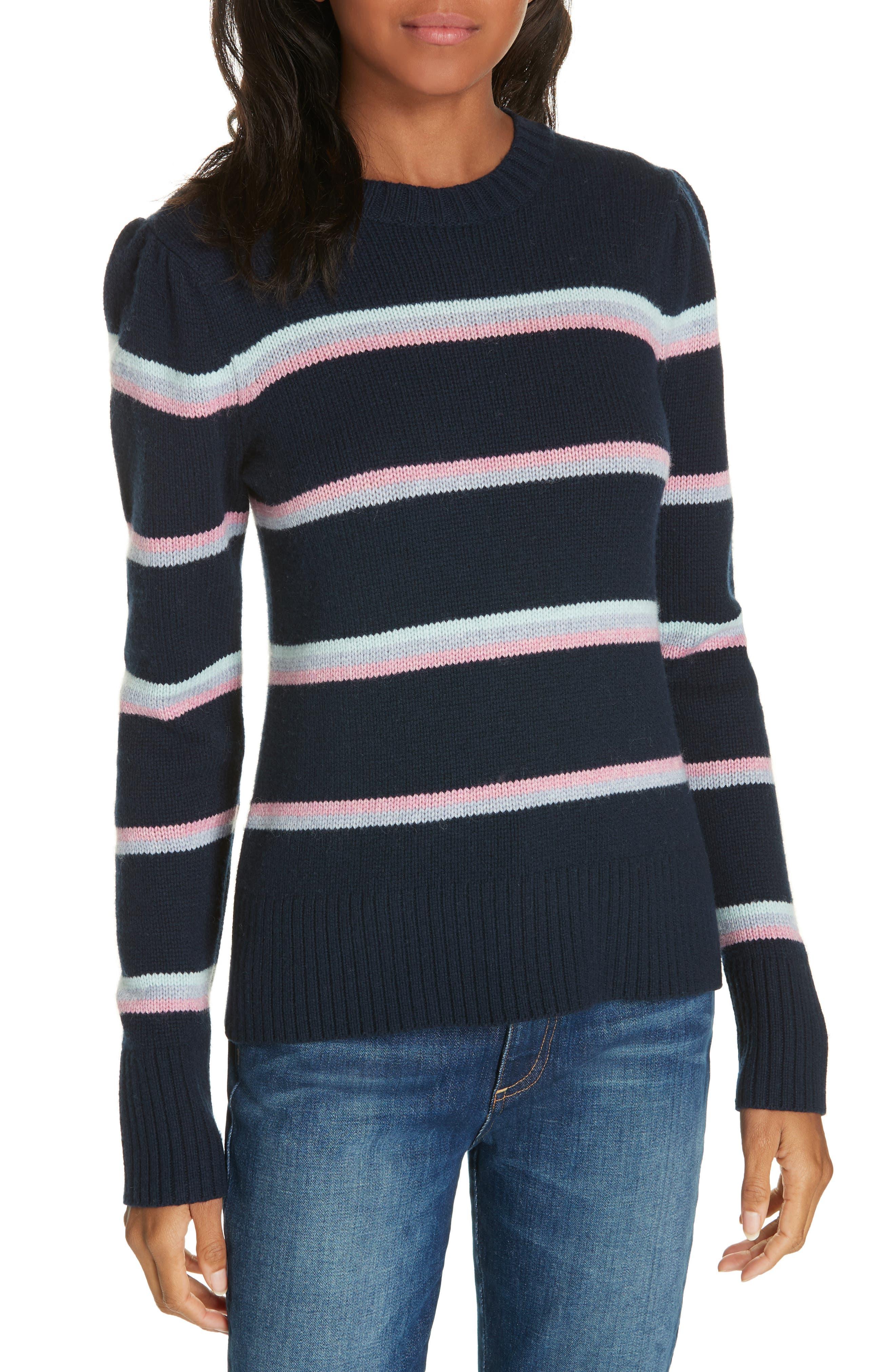 LA VIE REBECCA TAYLOR Stripe Wool Blend Sweater in Navy Combo