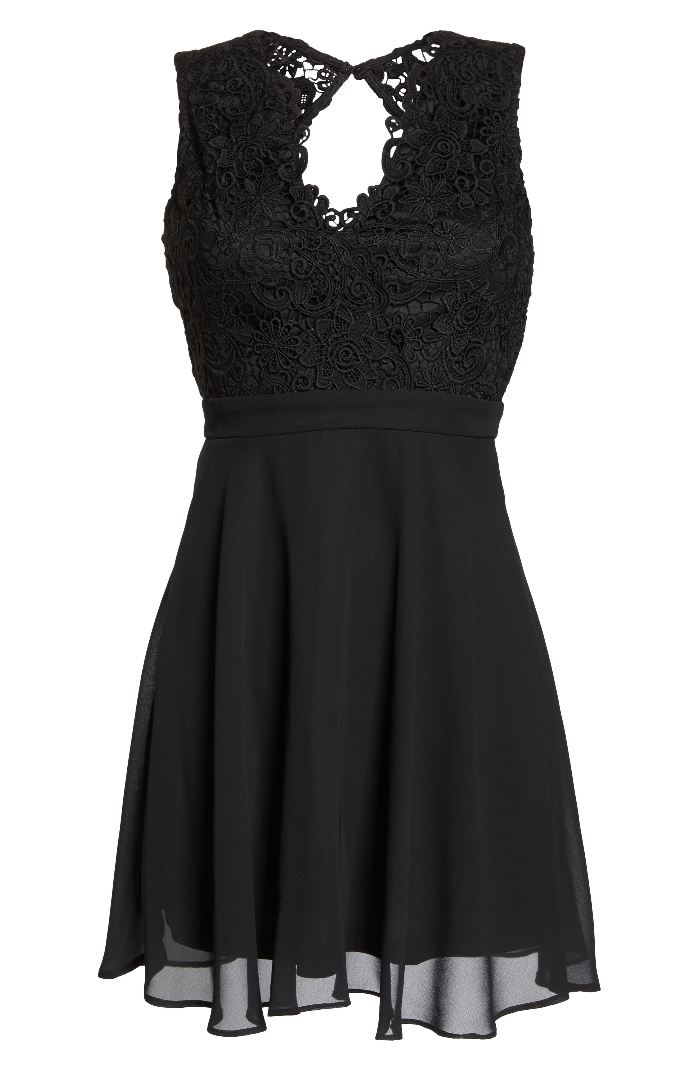 Lace & Chiffon Skater Dress,                             Alternate thumbnail 7, color,                             BLACK