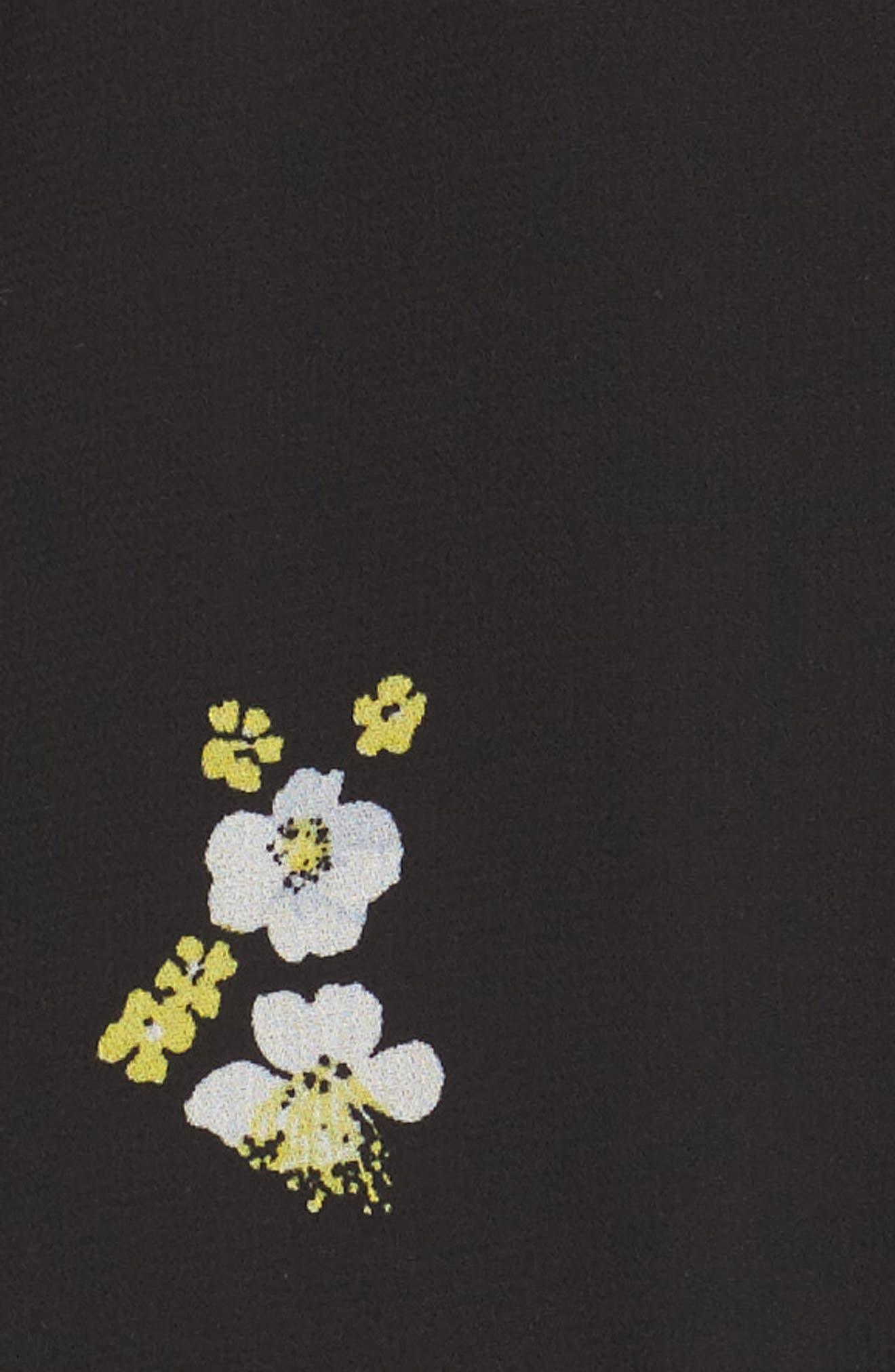 Ditzy Floral & Ruffle Chiffon Dress,                             Alternate thumbnail 6, color,                             001