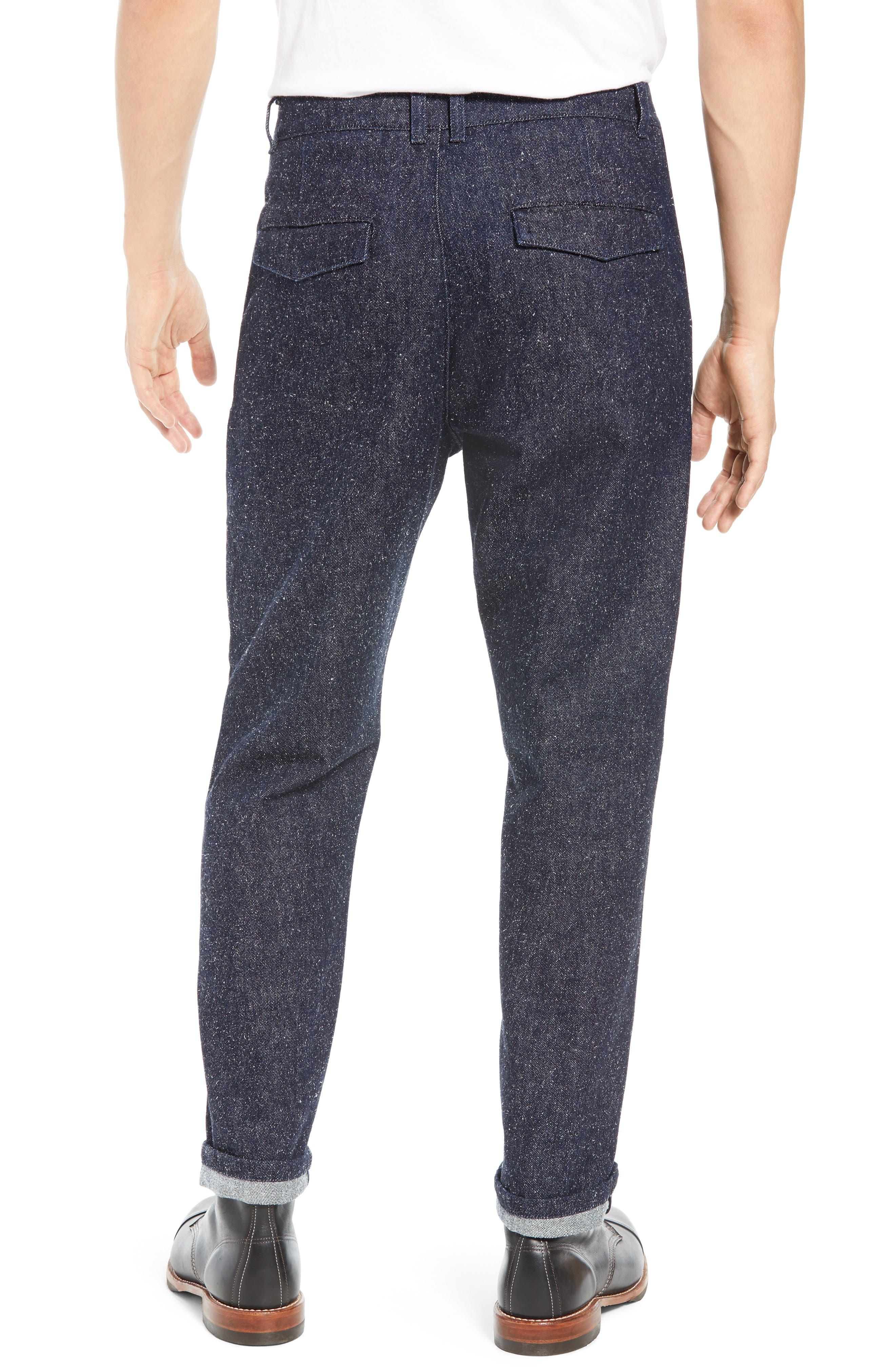 Tapered Straight Leg Cotton & Silk Trousers,                             Alternate thumbnail 2, color,                             NEPPY DENIM