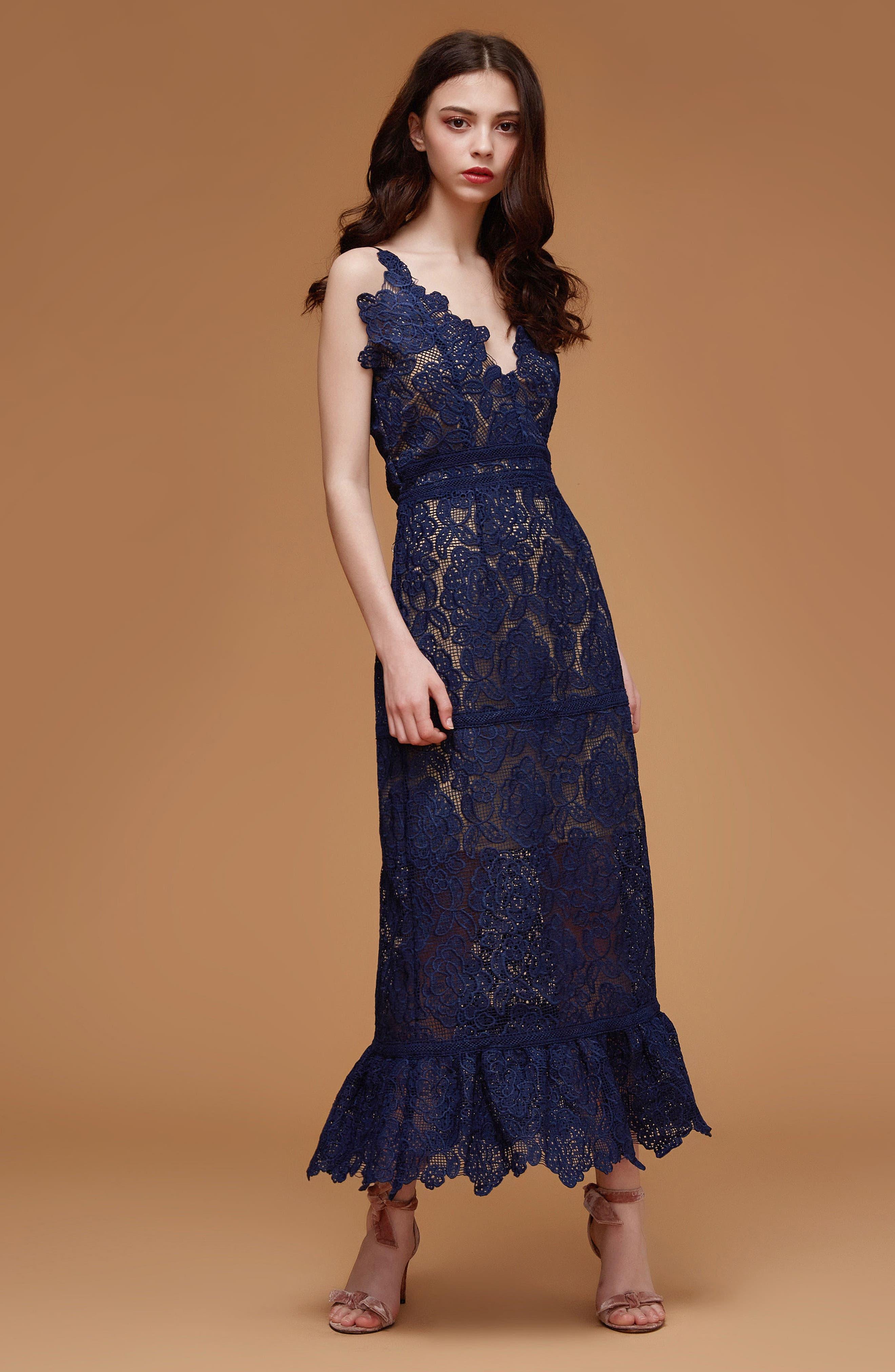 Majorie Lace Dress,                             Alternate thumbnail 8, color,                             NAVY