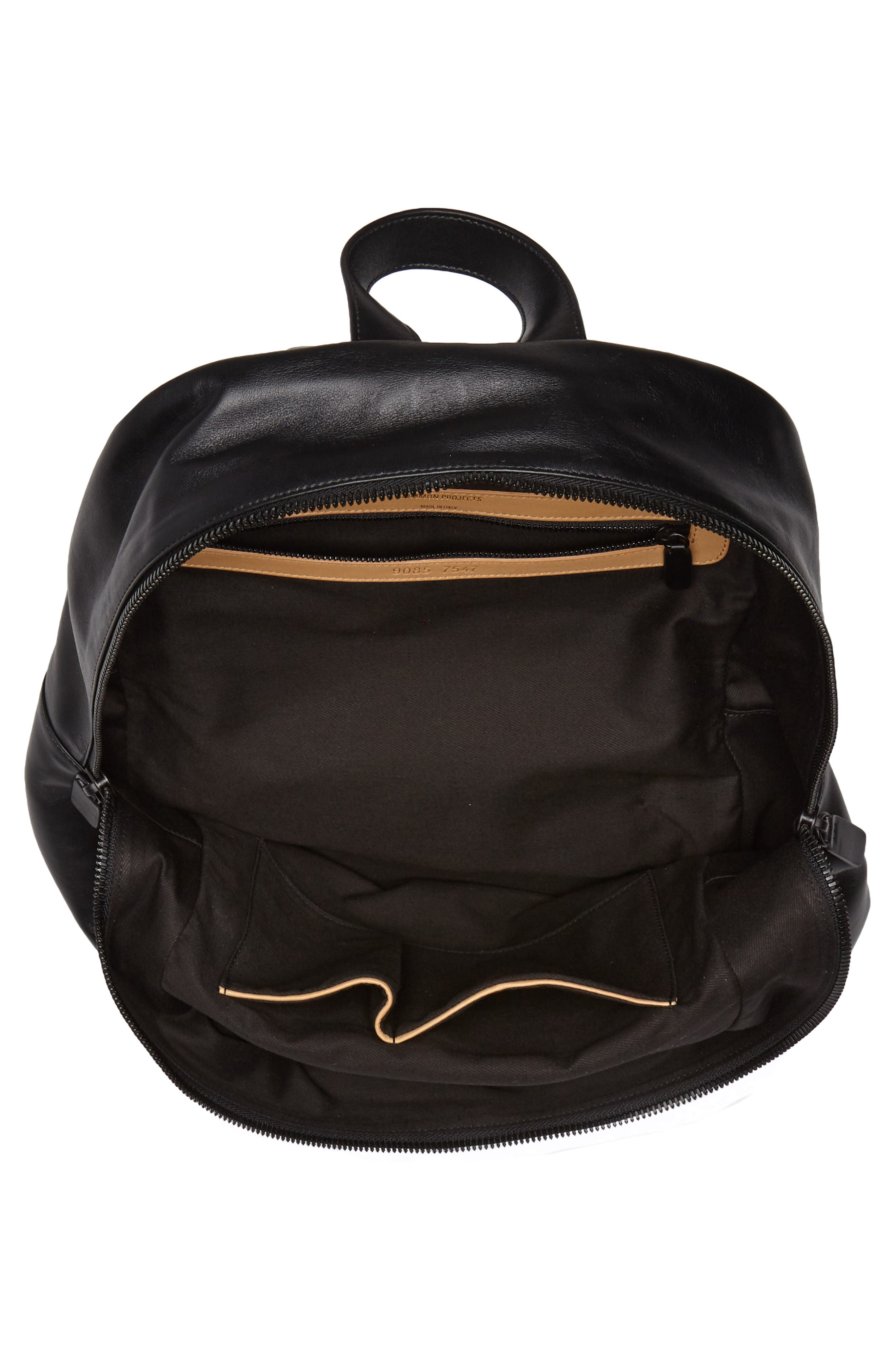 Soft Leather Backpack,                             Alternate thumbnail 4, color,                             BLACK
