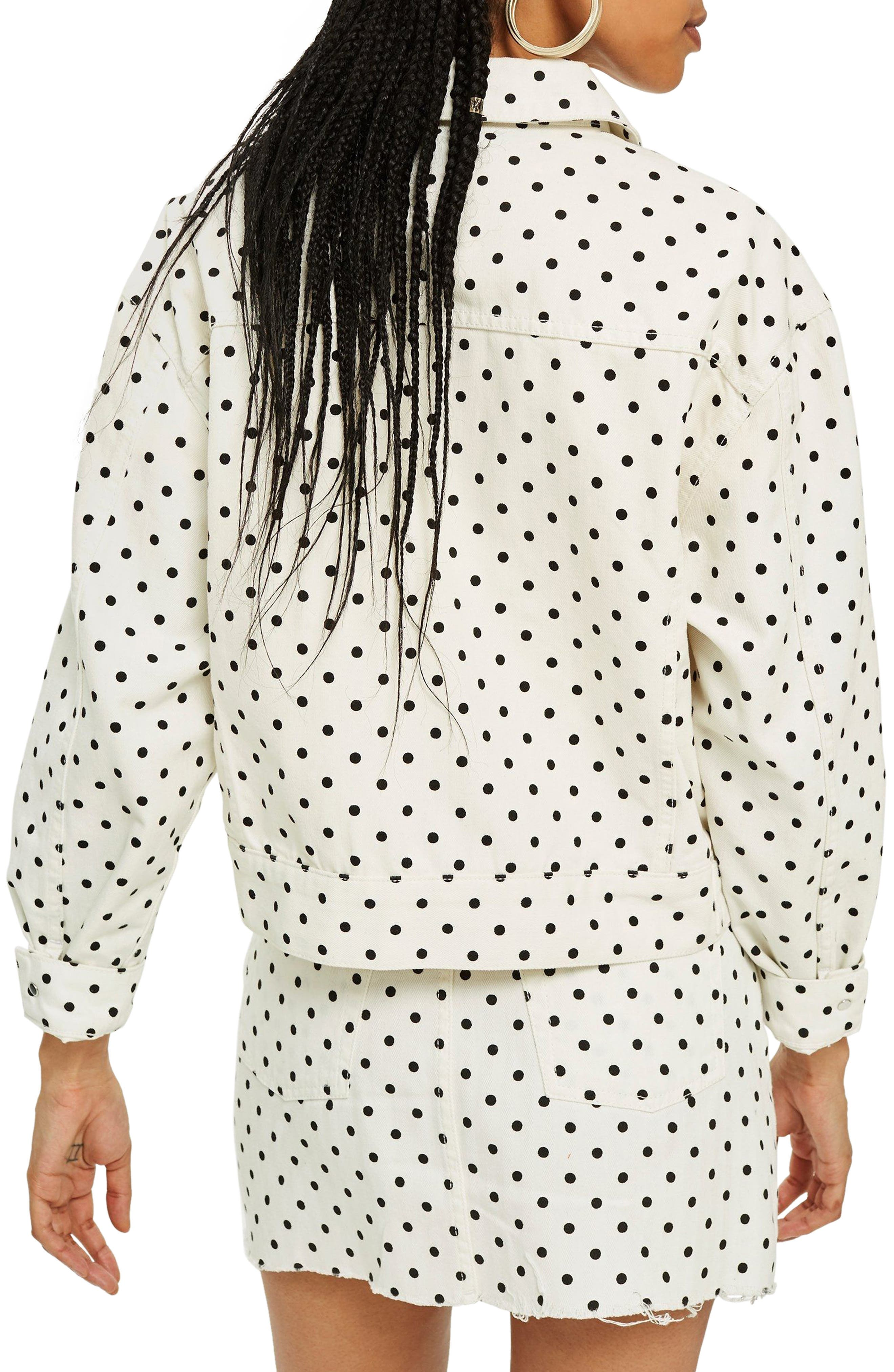 MOTO Polka Dot Crop Nonstretch Denim Jacket,                             Alternate thumbnail 2, color,