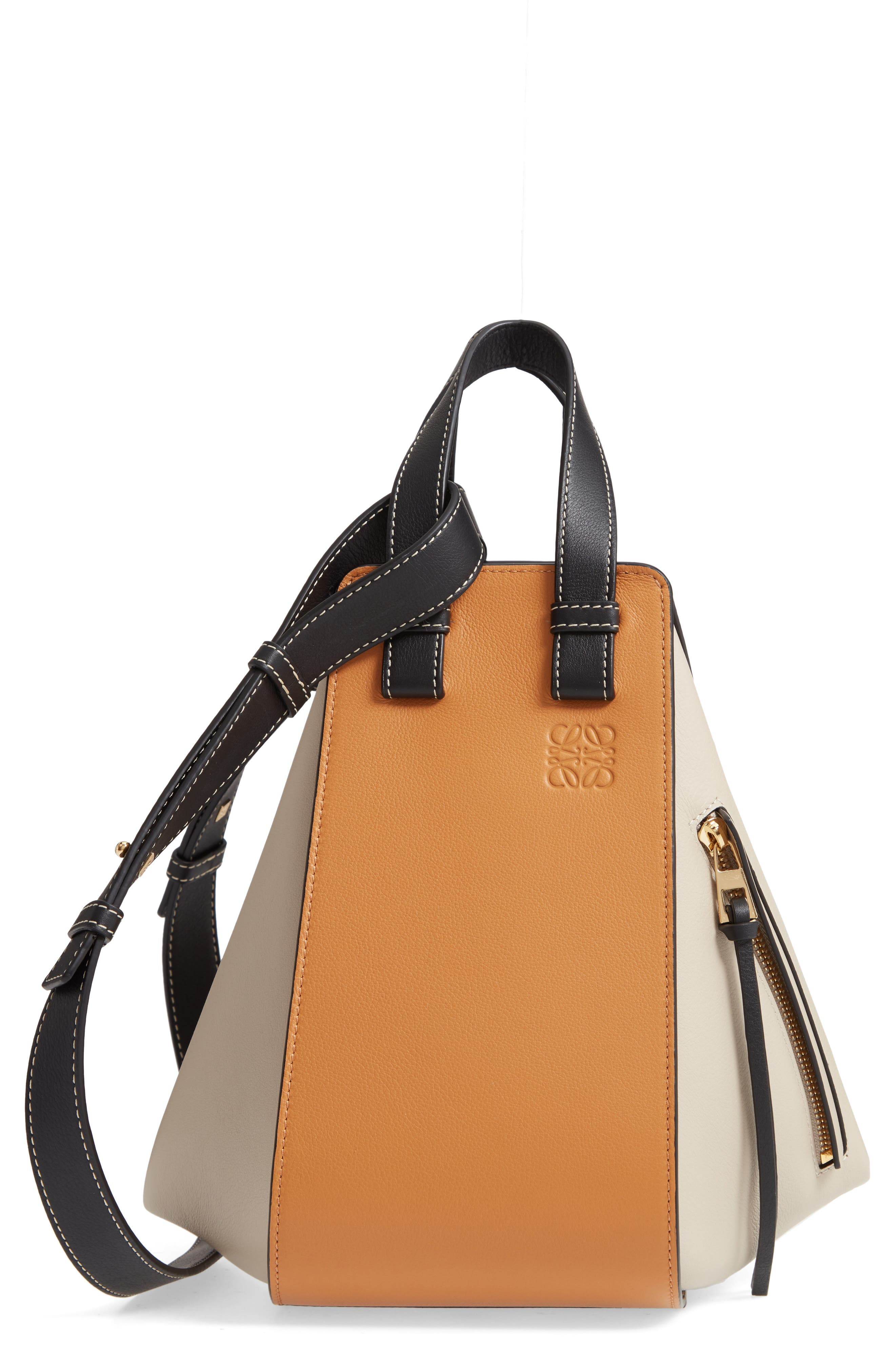 LOEWE,                             Small Hammock Tricolor Leather Hobo,                             Main thumbnail 1, color,                             AMBER/ LIGHT OAT